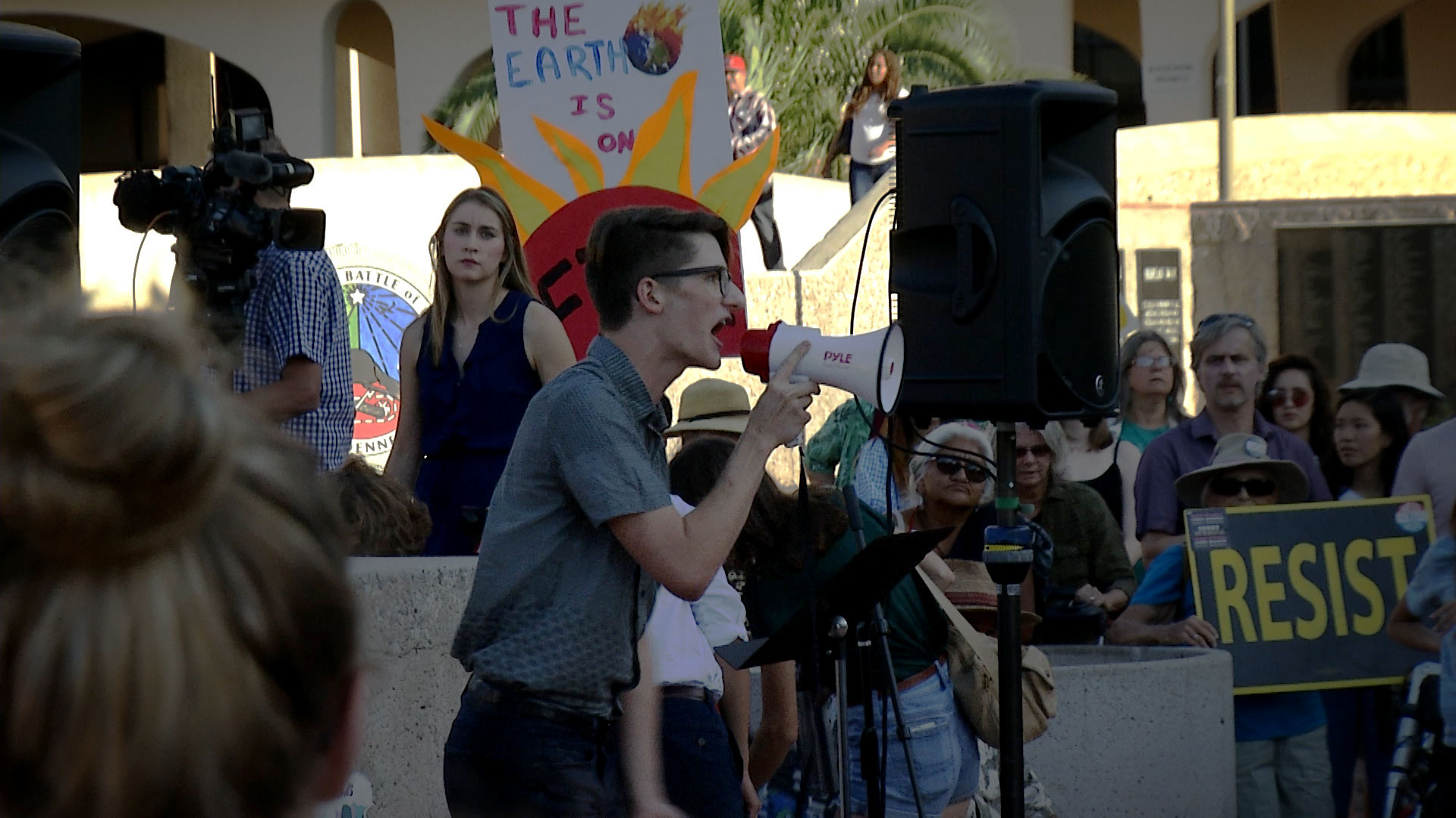 University of Arizona sophomore Kyle Kline speaks to a crowd gathered at a climate strike protest at El Presidio Park in Tucson on September 20, 2019.