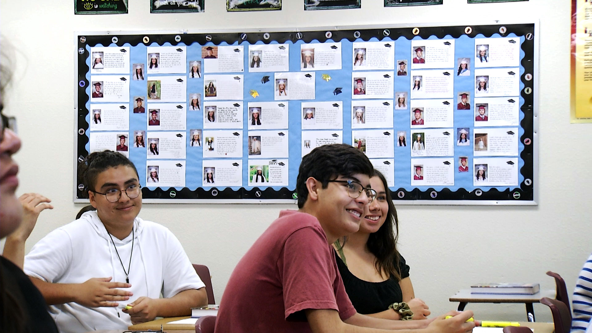 Students listen to instructions in an honors English class at Nogales High School on August 21, 2019.