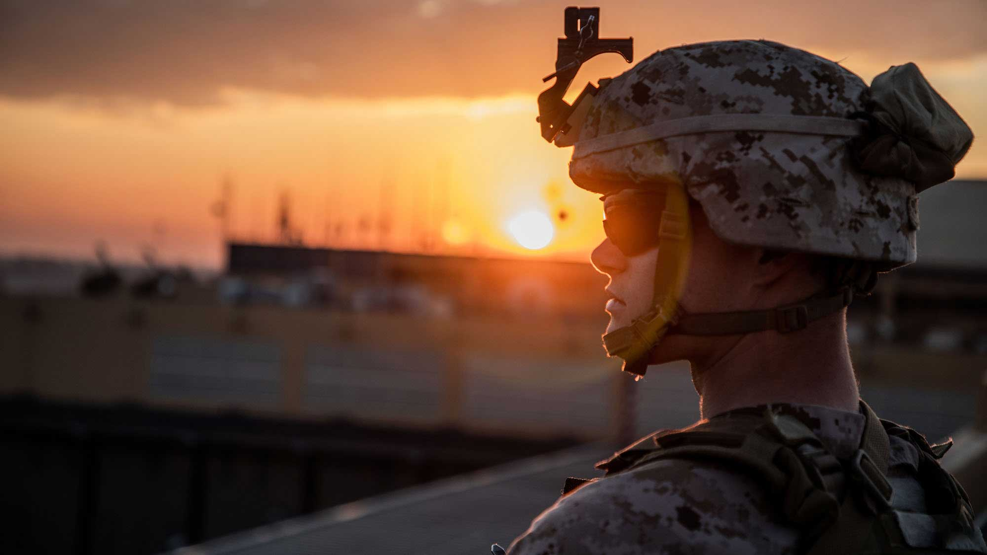 A Marine with the Special Purpose Marine Air-Ground Task Force-Crisis Response-Central Command stands post during the reinforcement of the Baghdad Embassy Compound in Iraq on Jan. 4. (Photo by Sgt. Kyle C. Talbot/U.S. Marine Corps)