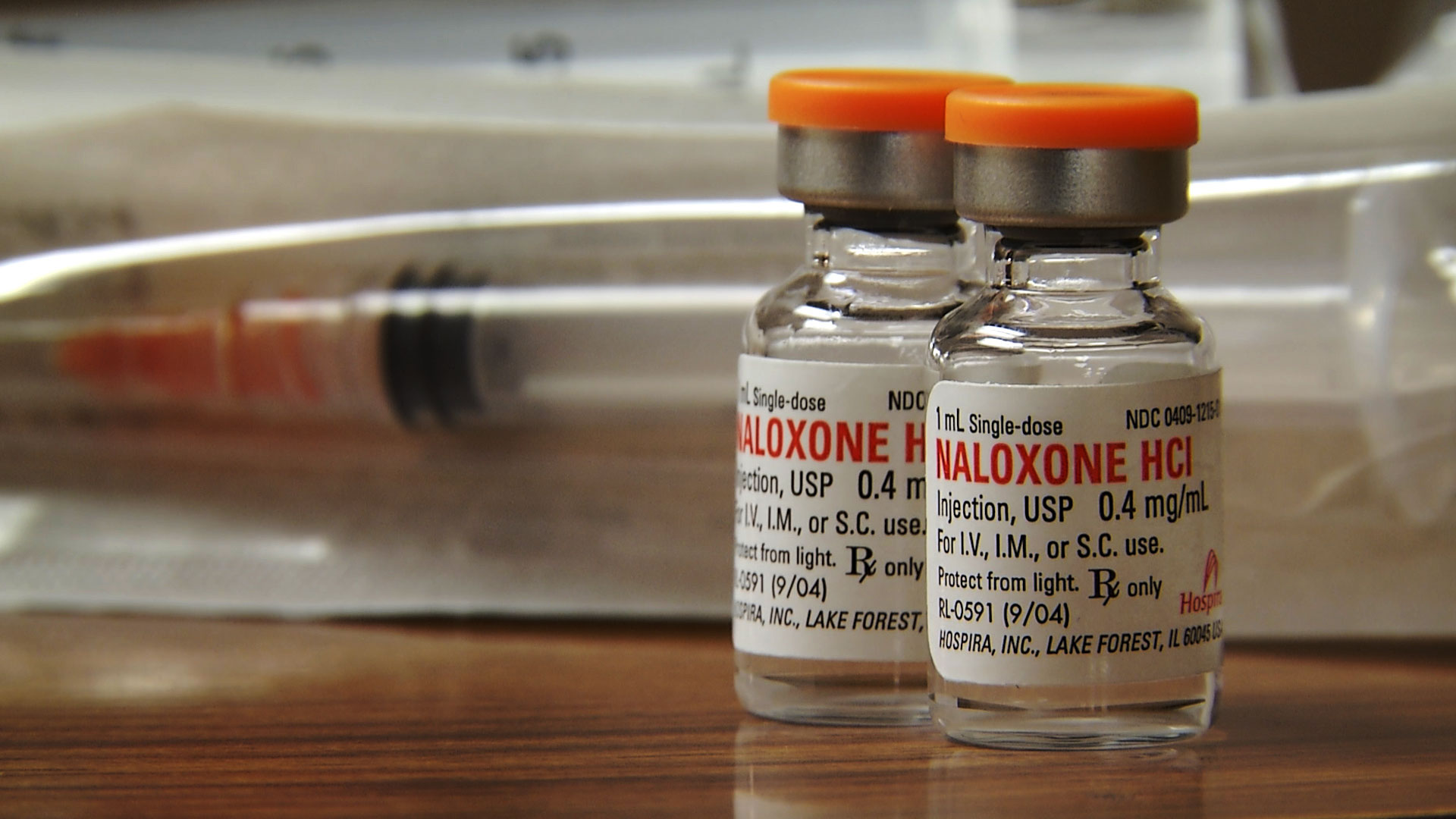 Vials of naloxone, which can be used to counter the effects of an opioid overdose.