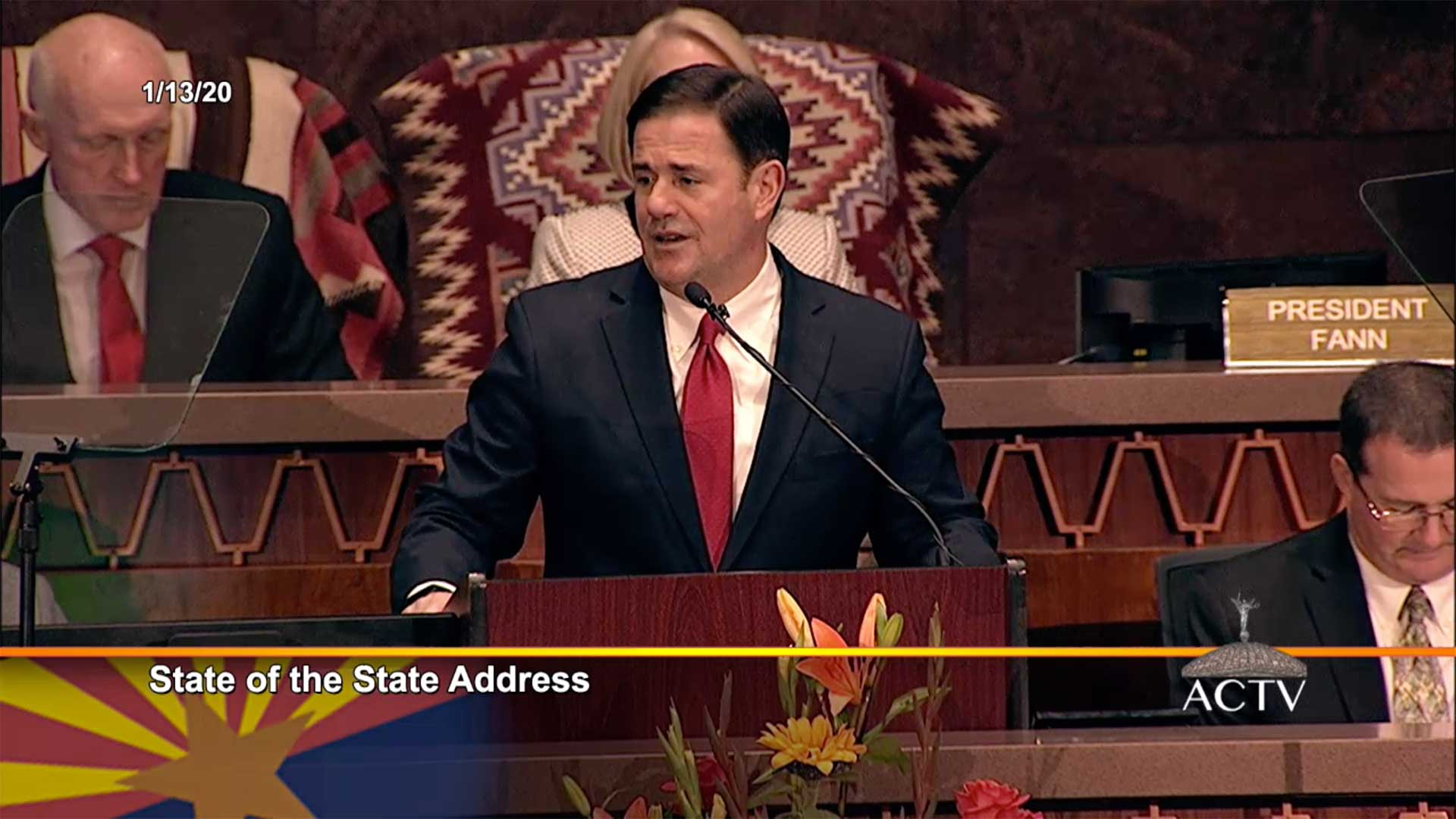 Arizona Gov. Doug Ducey delivers his 2020 State of the State address, Jan. 13, 2020.