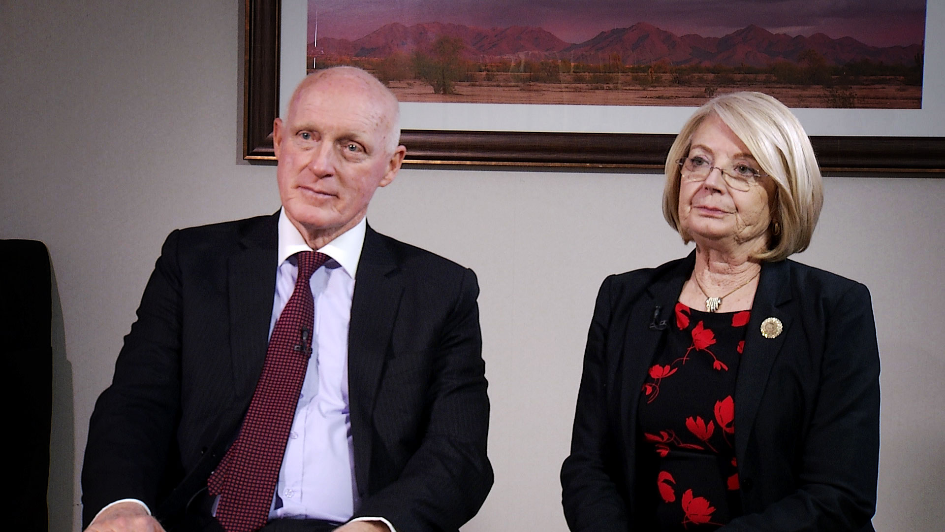 Arizona State House Speaker Rusty Bowers and State Senate President Karen Fann sit for an interview at the Arizona Biltmore in Phoenix on Jan. 10, 2020.
