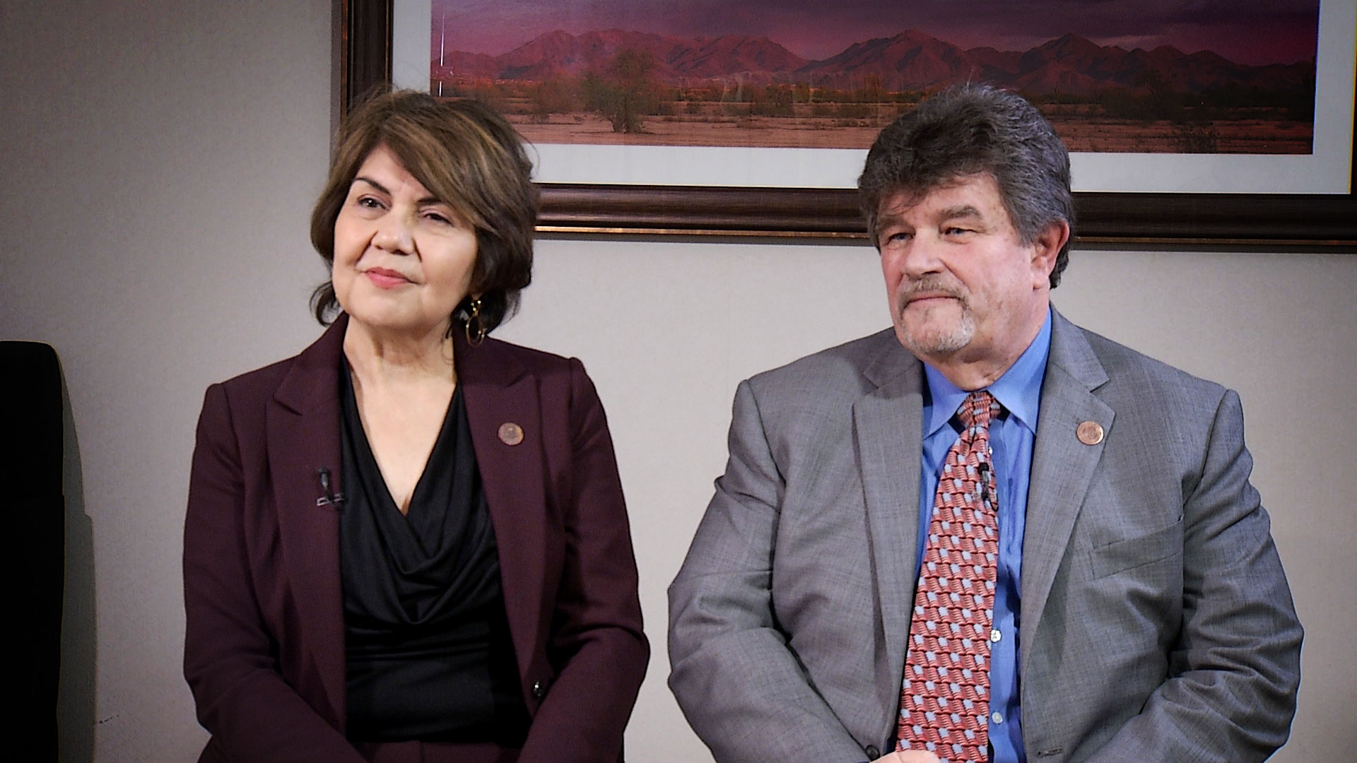 Arizona State Rep. Charlene Fernandez and State Sen. David Bradley sit for an interview at the Arizona Biltmore in Phoenix on Jan. 10, 2020.