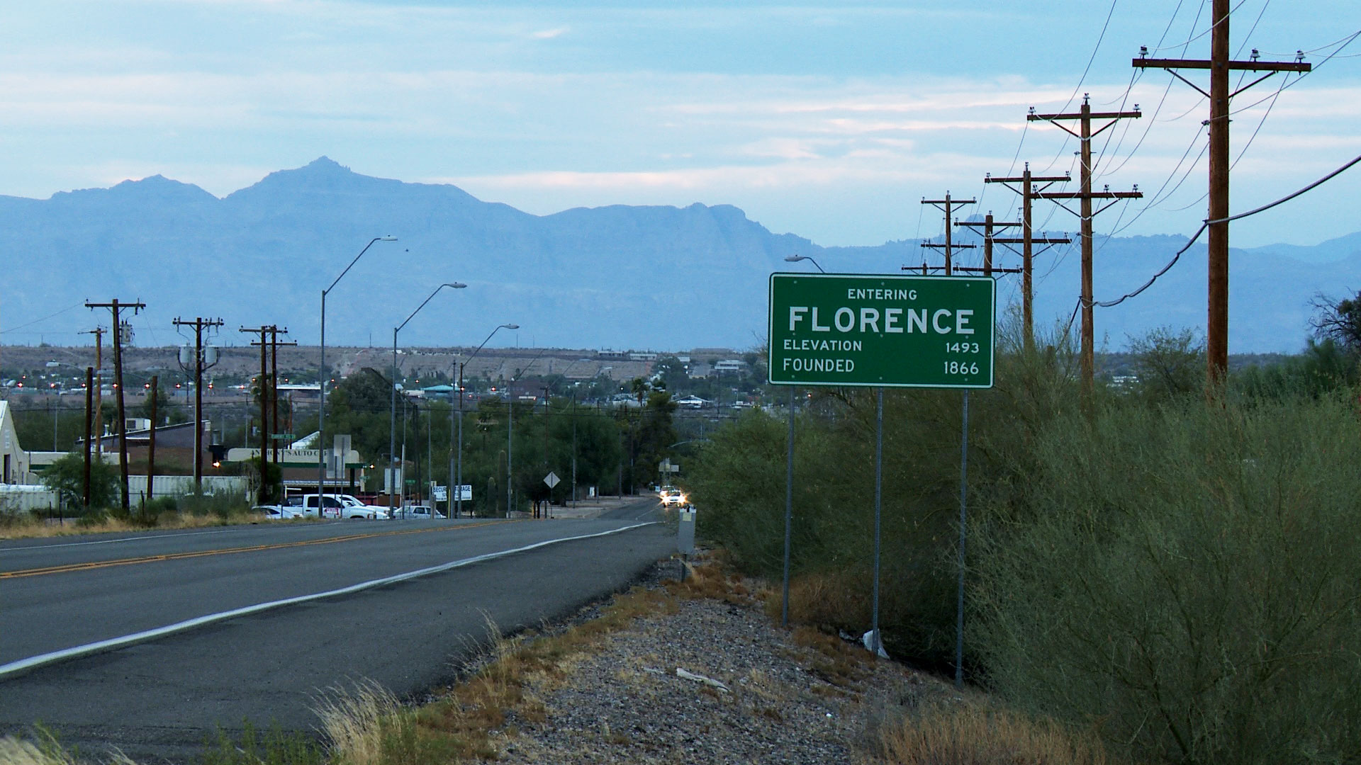 A sign for the town of Florence.