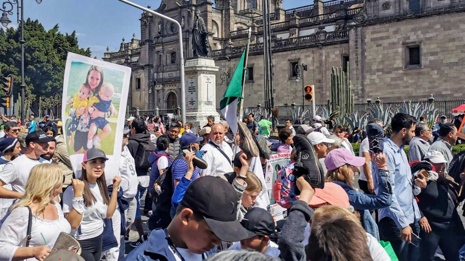 Led by the LeBarón family, hundreds gathered in Mexico City's downtown to protest against violence on Jan. 26, 2020.