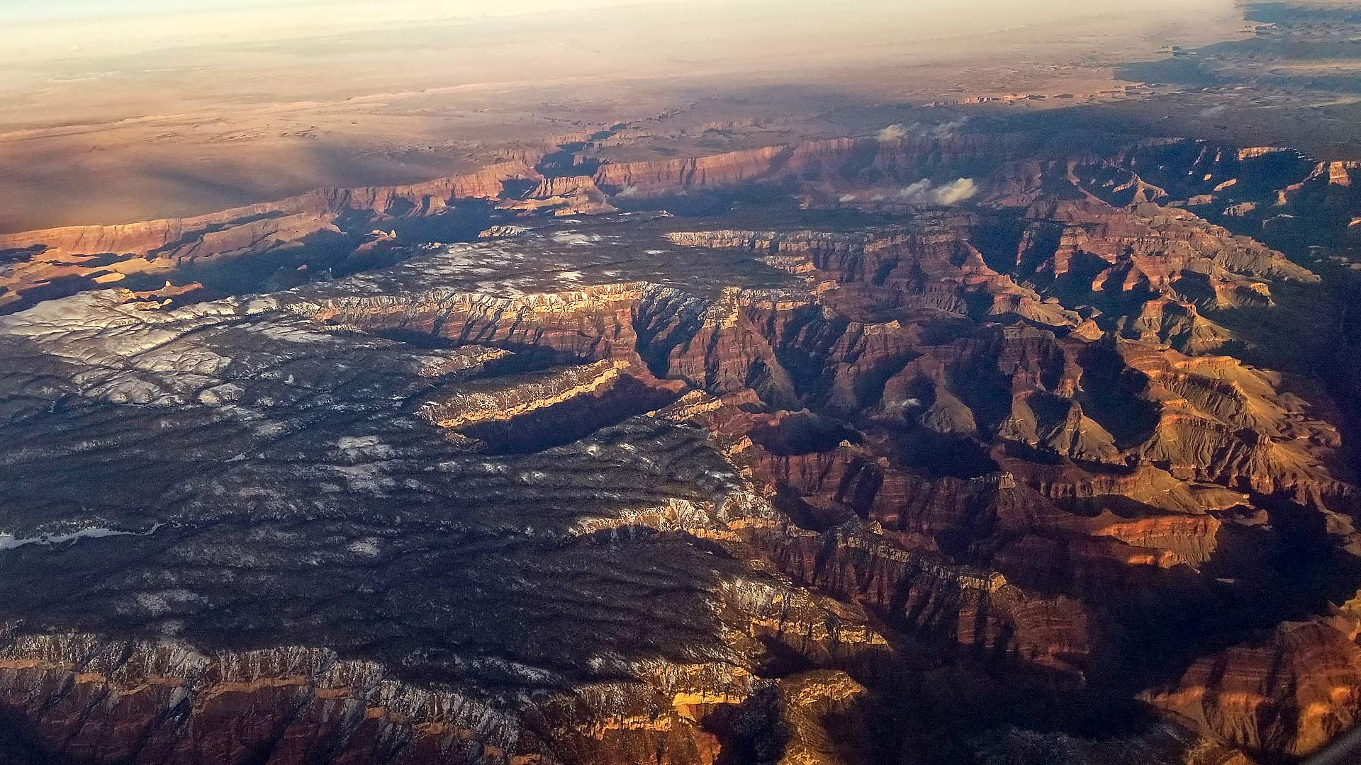 An aerial view of the Grand Canyon.