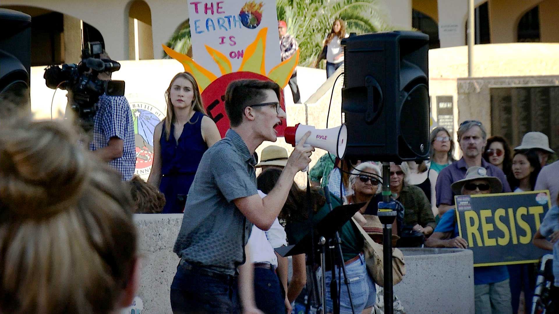 University of Arizona sophomore Kyle Kline speaks to a crowd gathered at a climate strike protest at El Presidio Park in Tucson on Sept. 20, 2019.