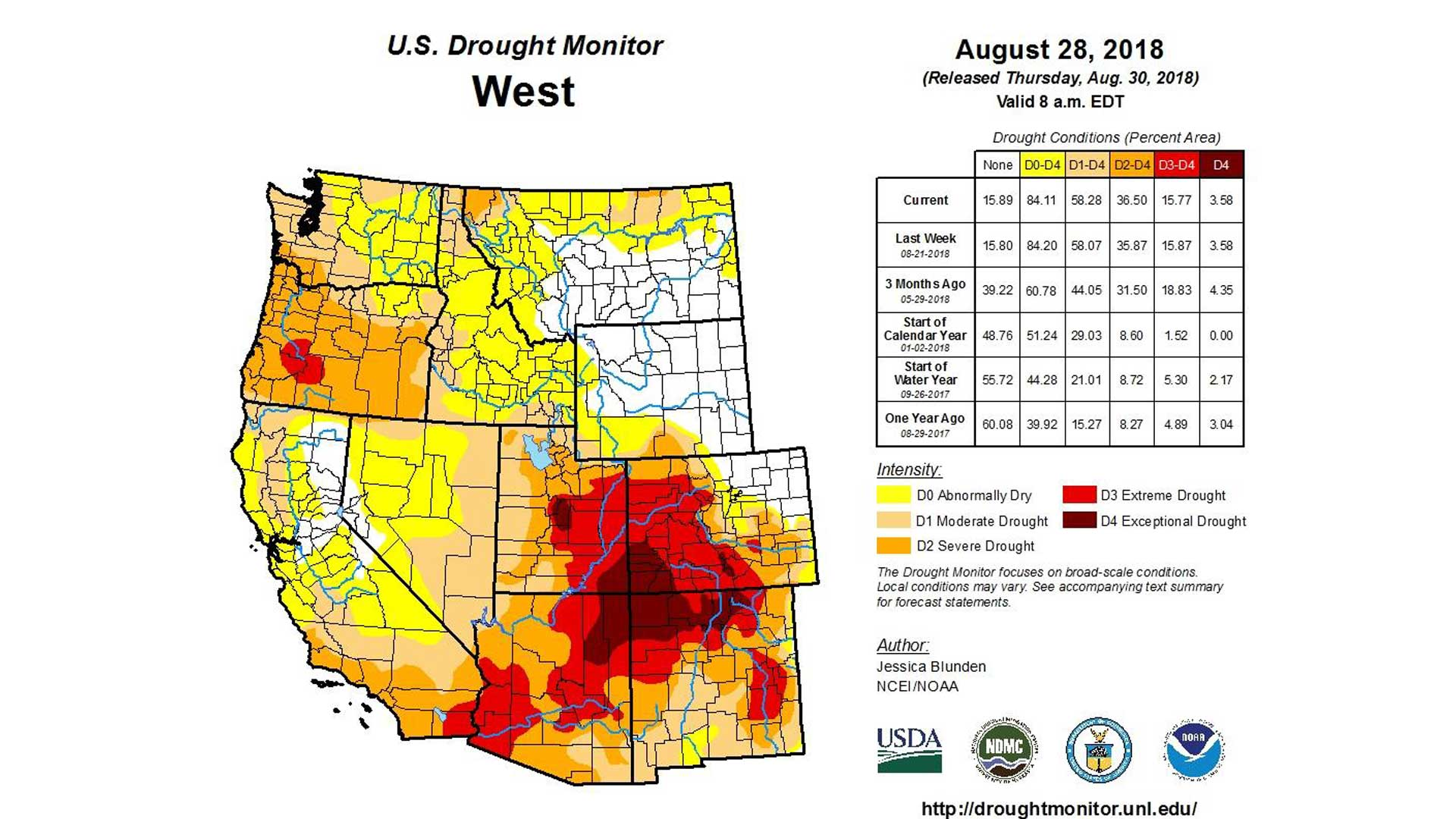 A drought map of the West dated Aug. 28, 2018.