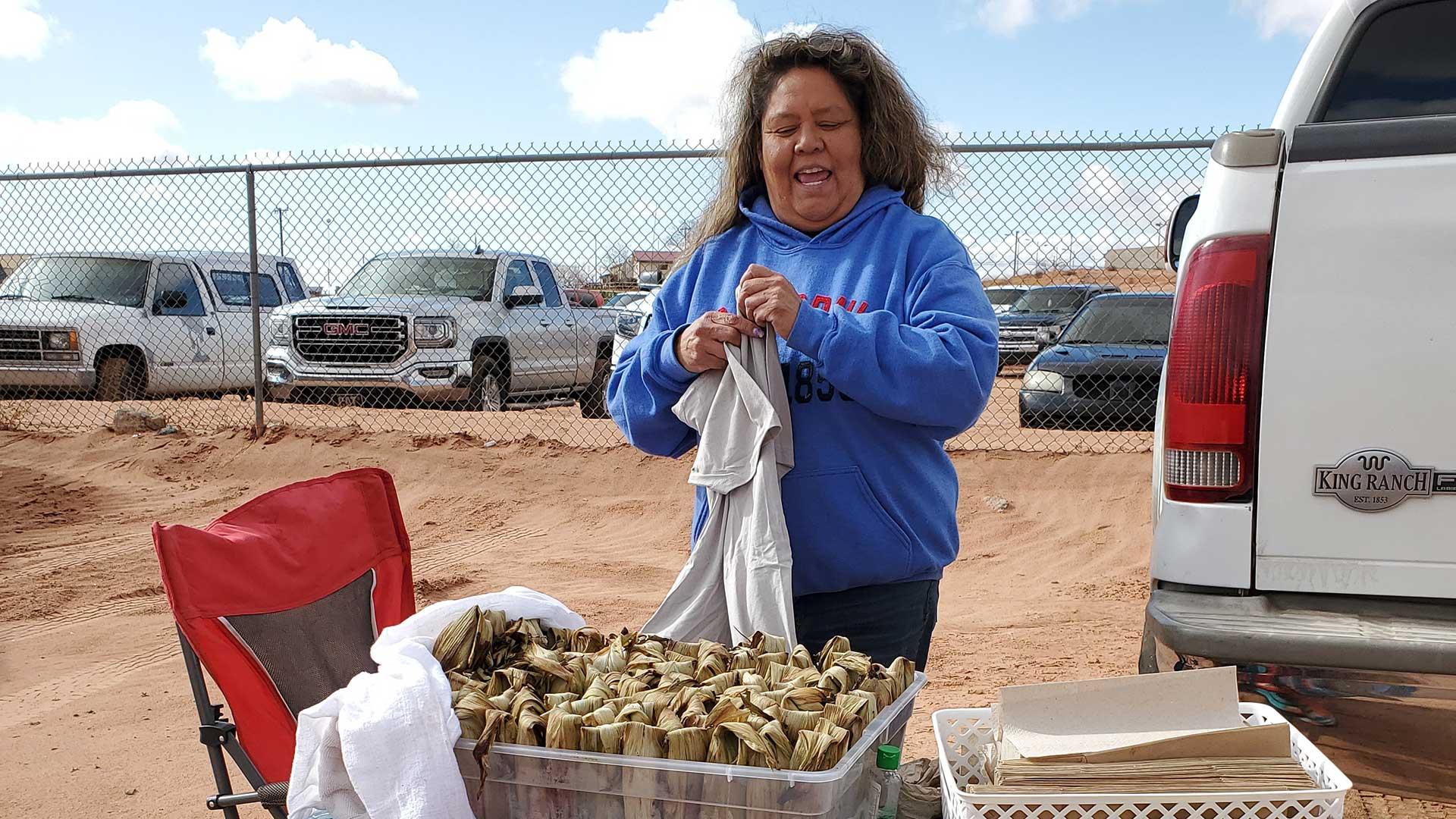 Kaibeto Kneel Down Bread vendor sells Navajo tamales in Kaibeto, Arizona.