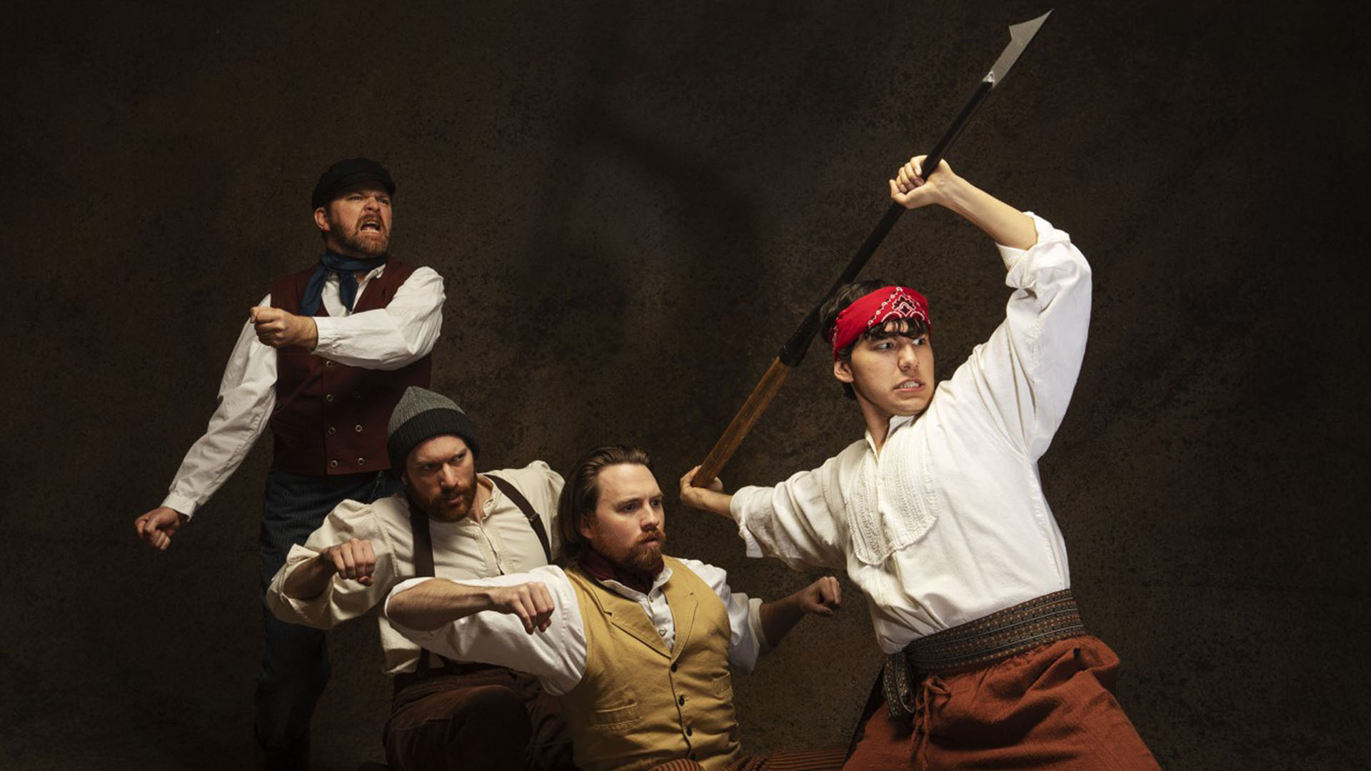 "The crew of the whaling vessel Pequod, portrayed by Ryan Parker Knox, Christopher Pankratz, Aaron Shand and Eduardo Rodriguez, in The Rogue Theatre's stage adaptation of ""Moby Dick""."