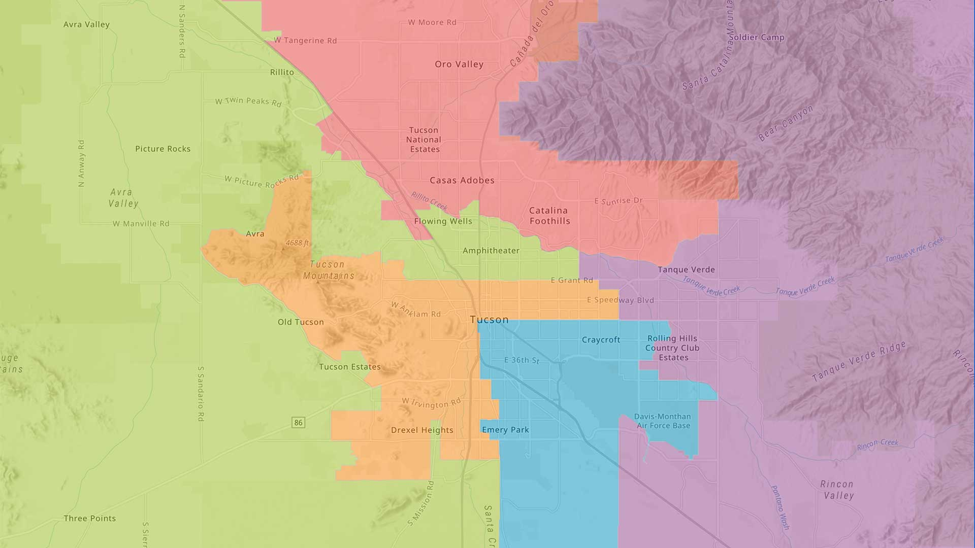 Image of a map depicting Pima County Board of Supervisors districts, October 2020.