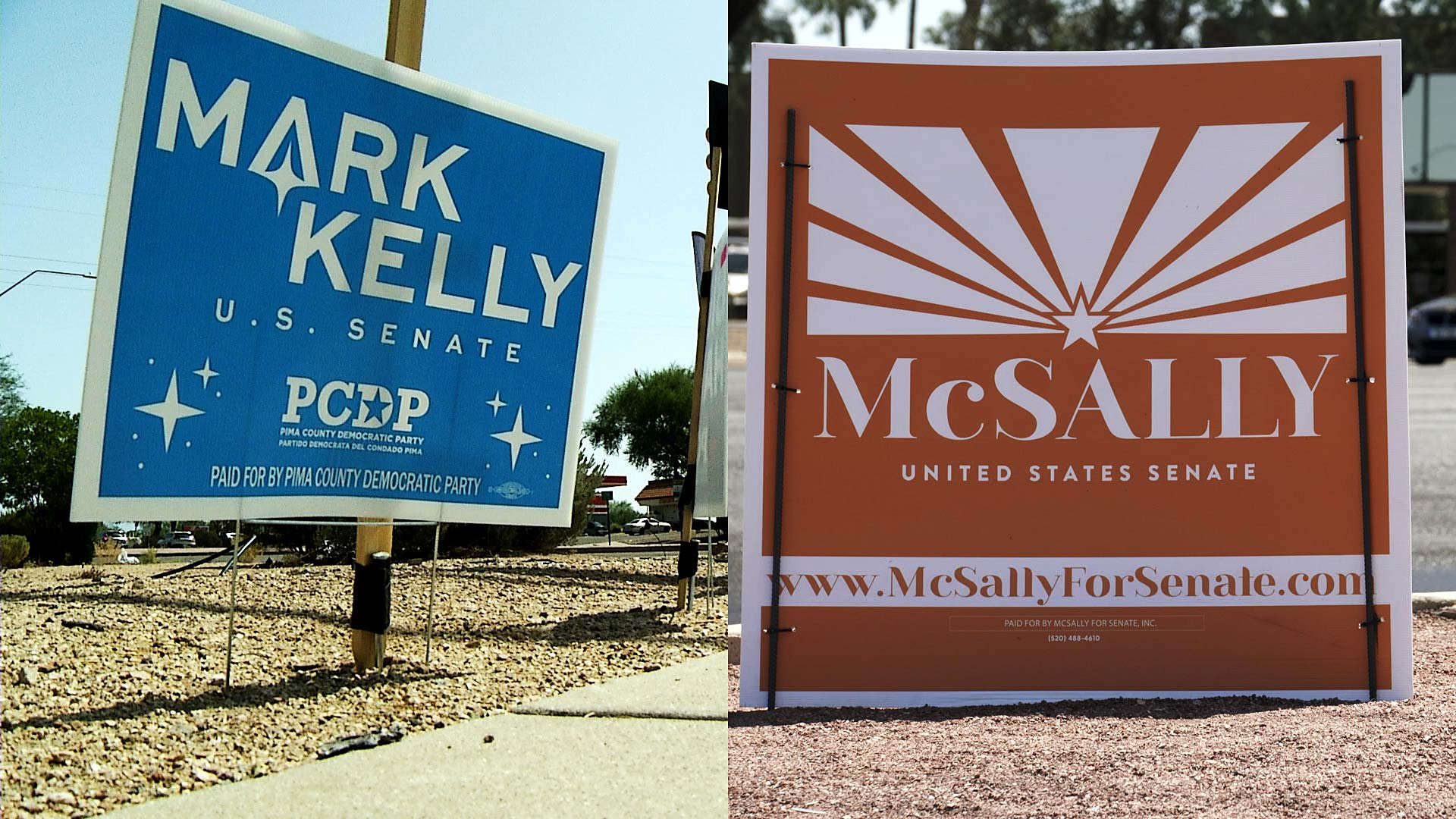 An image composite of campaign signs for U.S. Senate candidates Democrat Mark Kelly and Republican incumbent Martha McSally.
