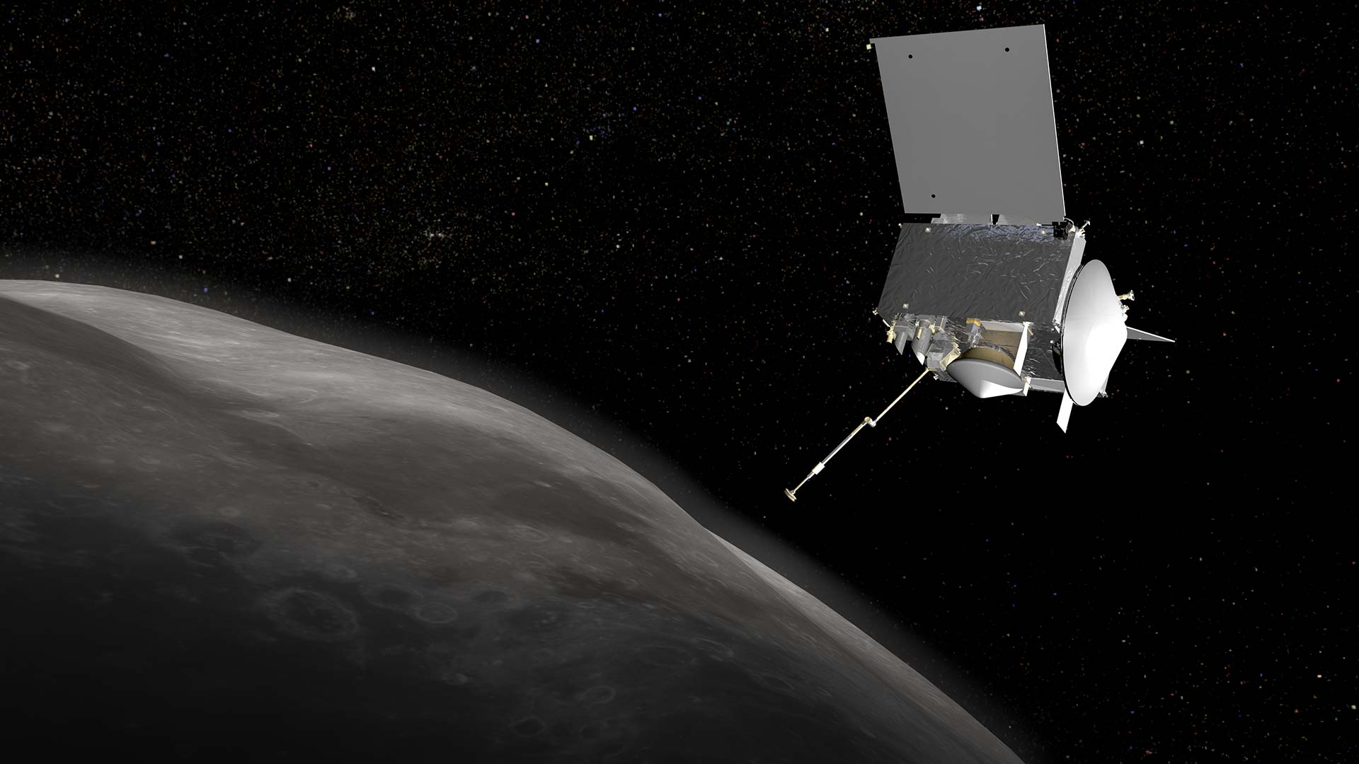 OSIRIS-REx depicted in orbit around Bennu.