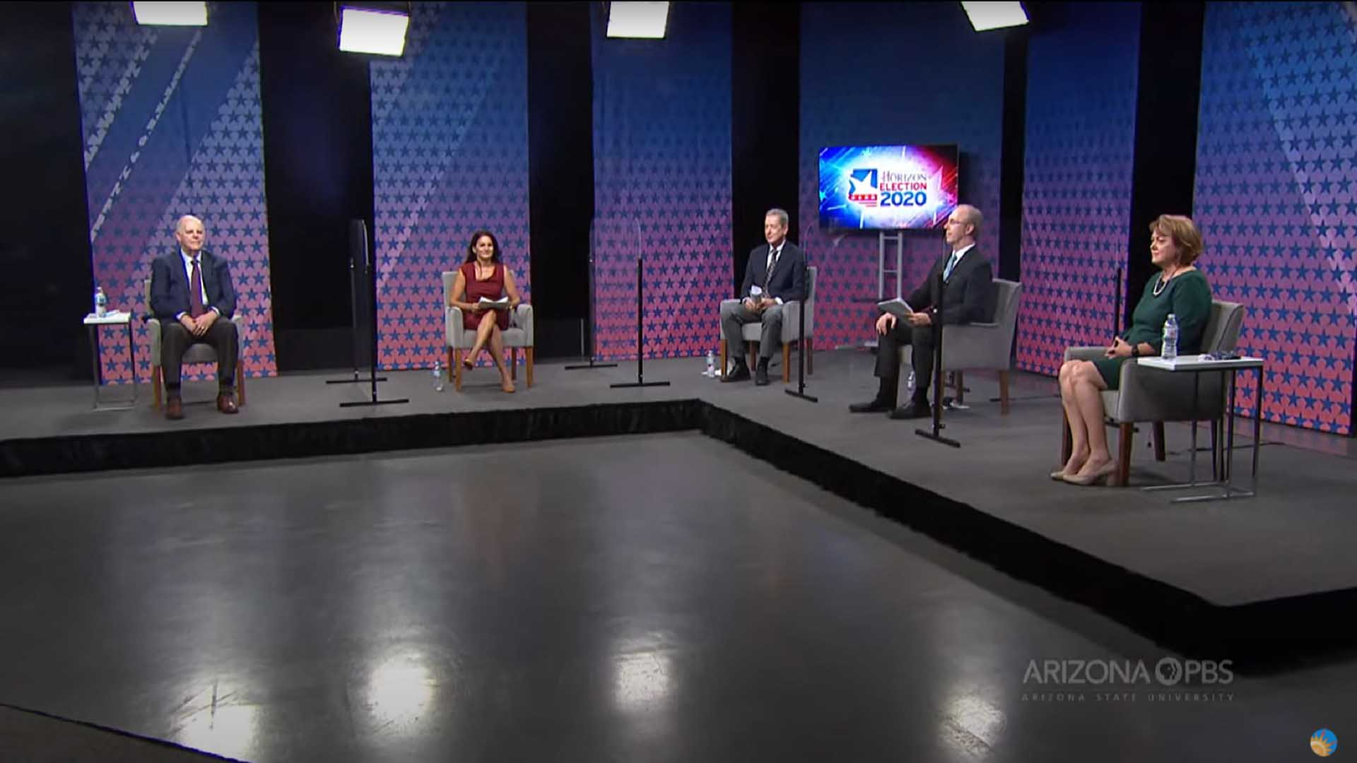Rep. Tom O'Halleran, left, and Republican challenger Tiffany Shedd, right, debate on Arizona PBS, Oct. 8, 2020.
