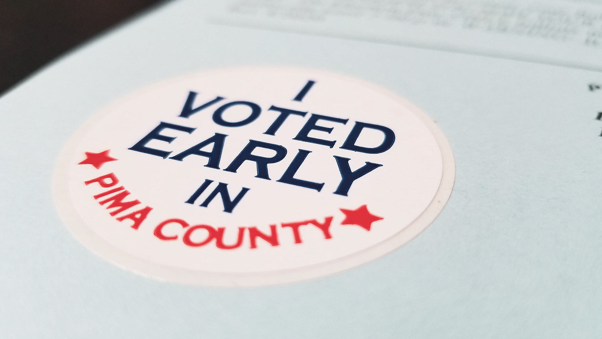 An early voting sticker included in a 2020 election ballot envelope for Pima County.