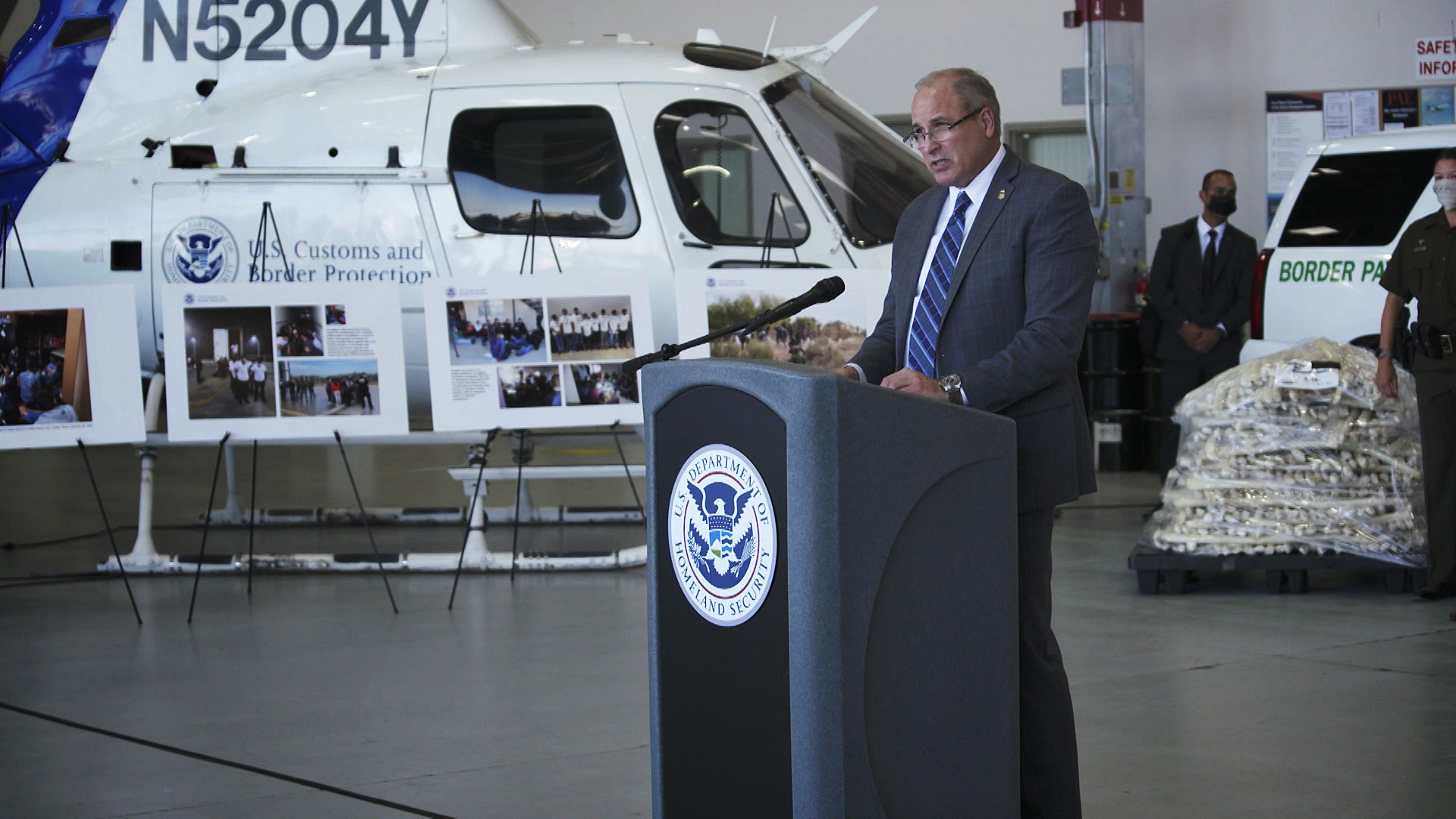 Customs and Border Protection Acting Commissioner Mark Morgan goes over the agency's 2020 fiscal year during a news conference at Davis-Monthan Air Force Base on Oct. 14, 2020.