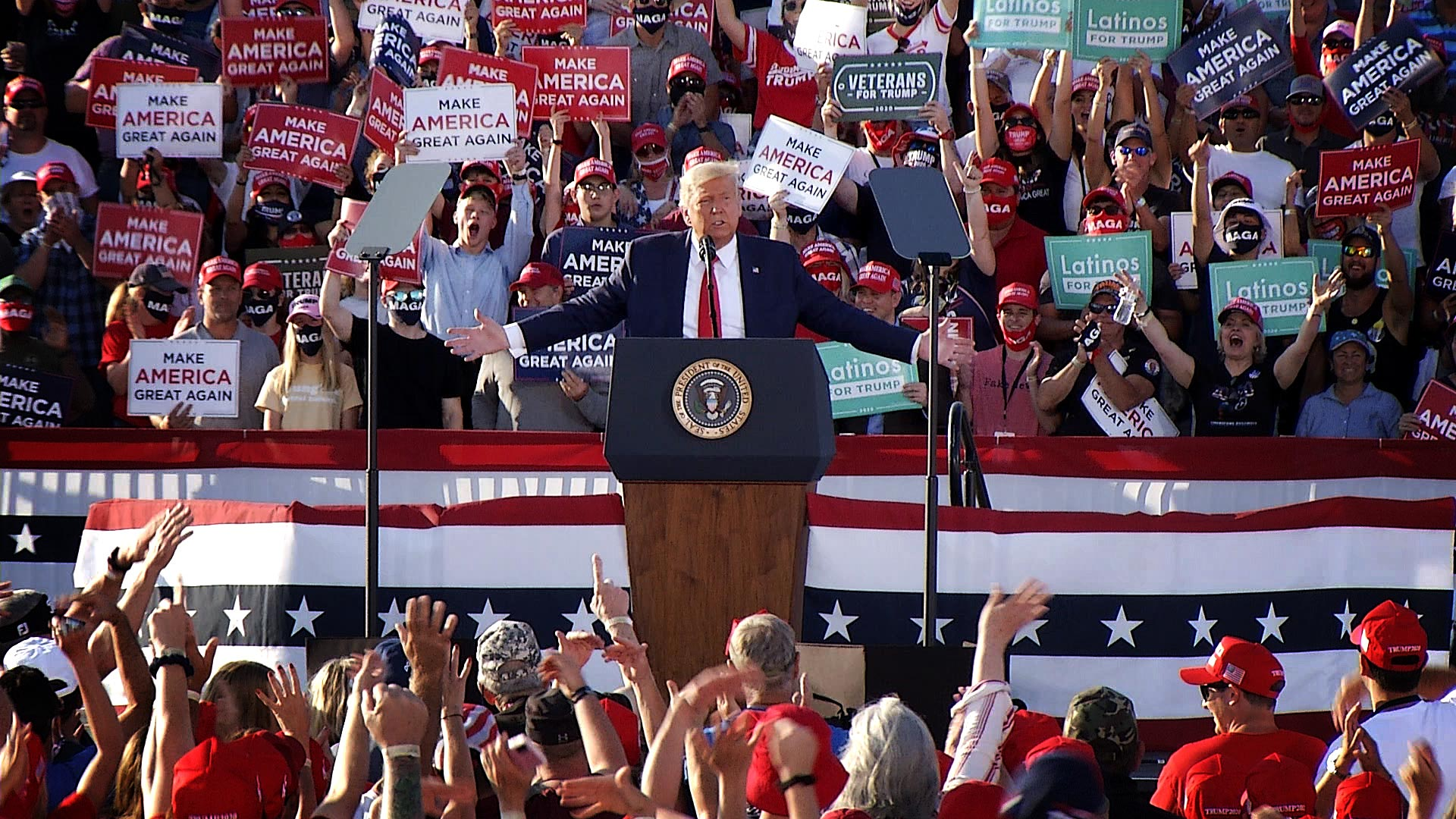 President Trump holds a campaign rally at Tucson International Airport on Oct. 19, 2020.