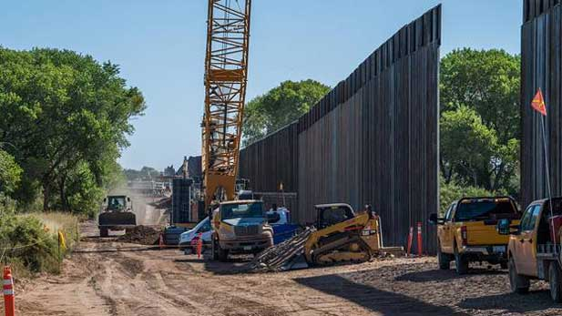 Construction nears the end on the wall section across the San Pedro River in October 2020.