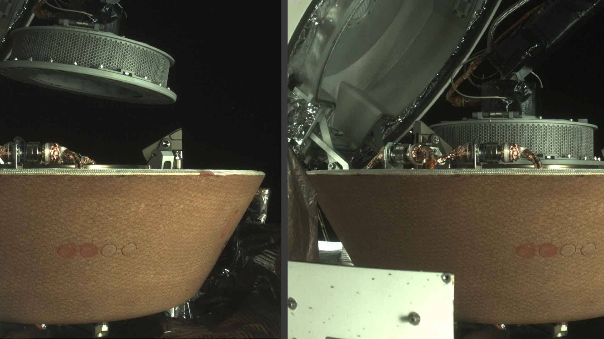 The OSIRIS-REx spacecraft stows the TAGSAM collection head after gathering samples from the surface of the asteroid Bennu, Oct. 29, 2020