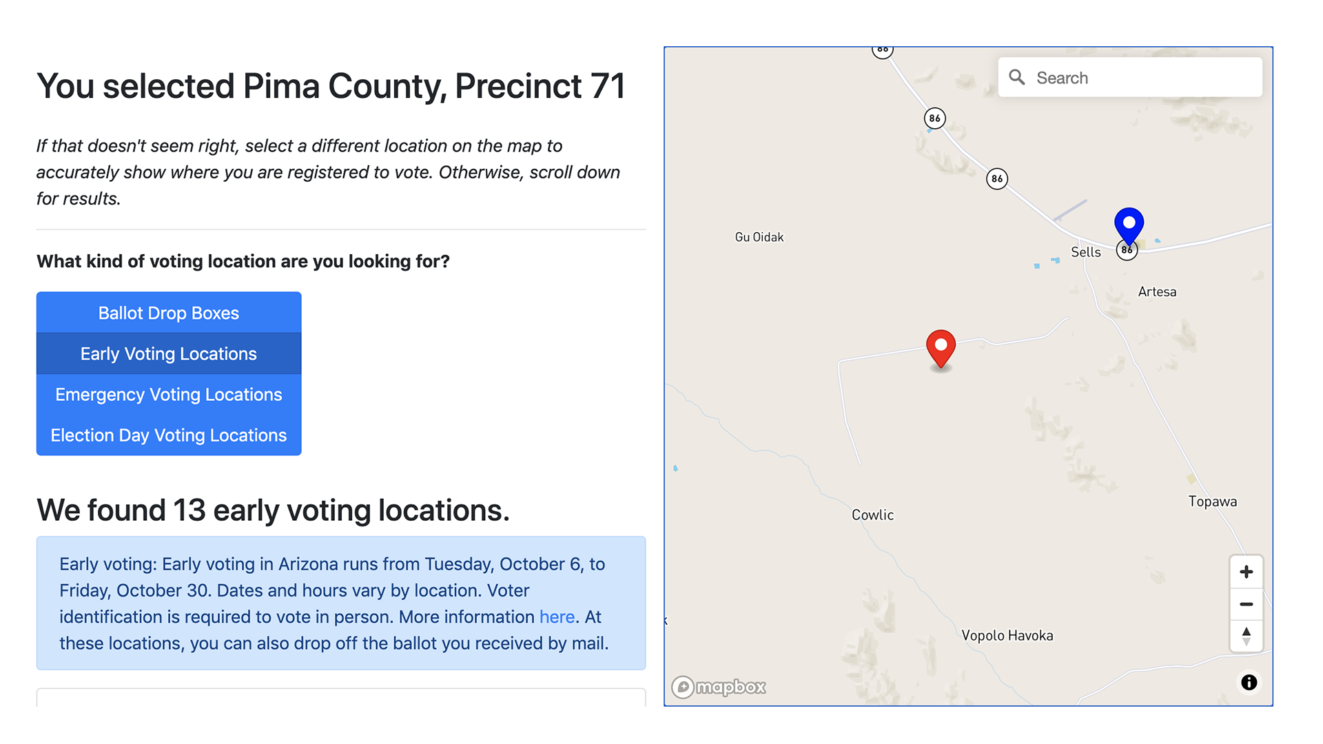A screenshot of Arizona State University Indian Legal Clinic's poll and voting location locator for voters living in tribal lands.