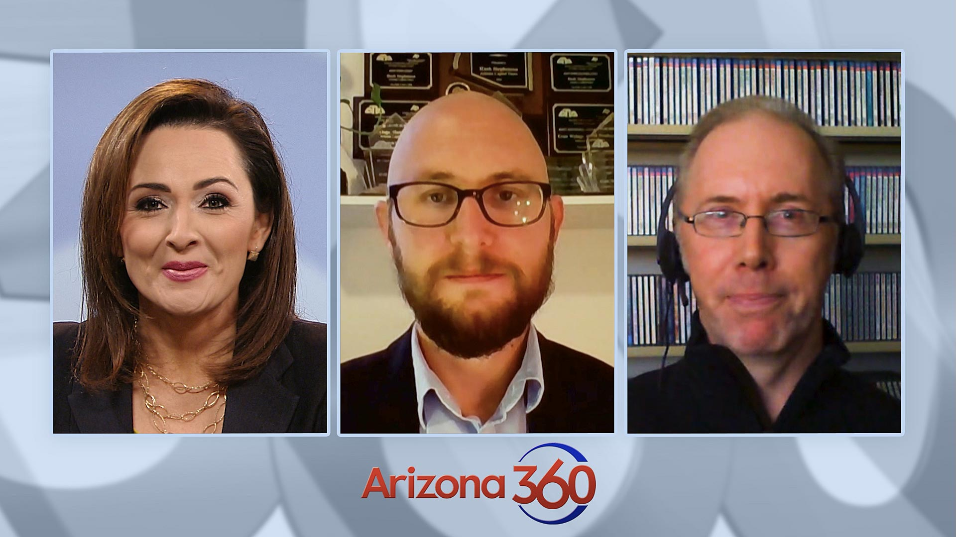 The Yellow Sheet's Hank Stephenson (center) and KJZZ's Steve Goldstein (right) in an interview with Arizona 360 host Lorraine Rivera on Oct. 26, 2020.