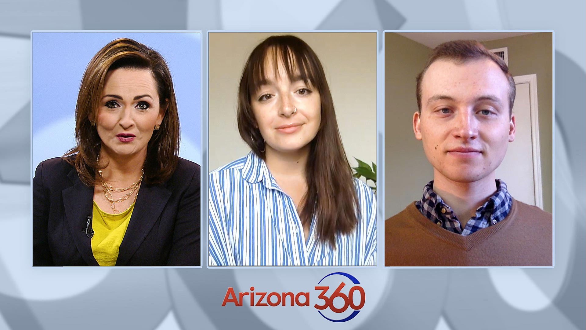 Arizona Public Media reporters Alisa Reznick (center) and Jake Steinberg (right) during an interview with Arizona 360 host Lorraine Rivera on Oct. 27, 2020.