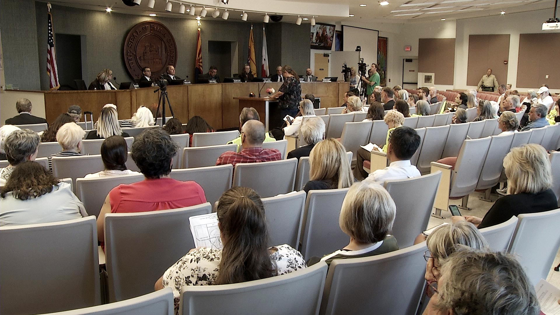 Residents observe a Pima County Board of Supervisors meeting. May 2019.