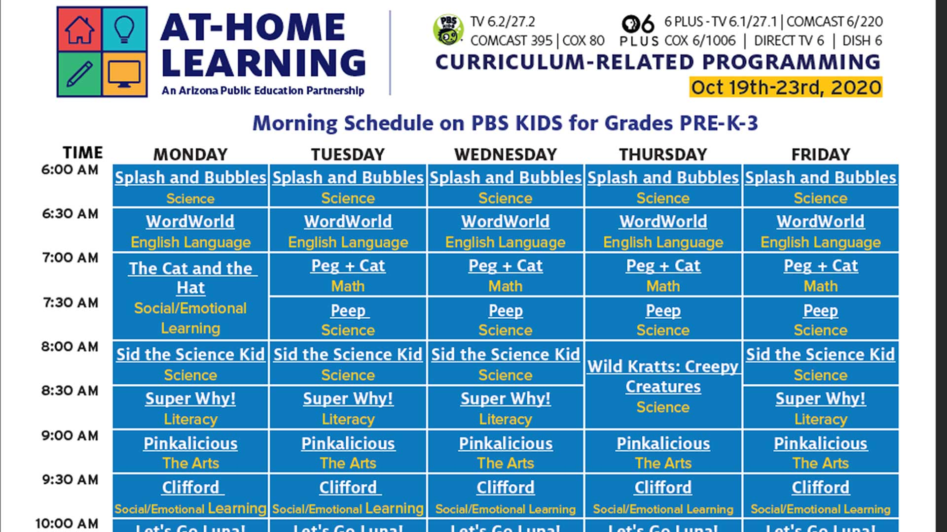 PBS Kids At Home Learning Schedule