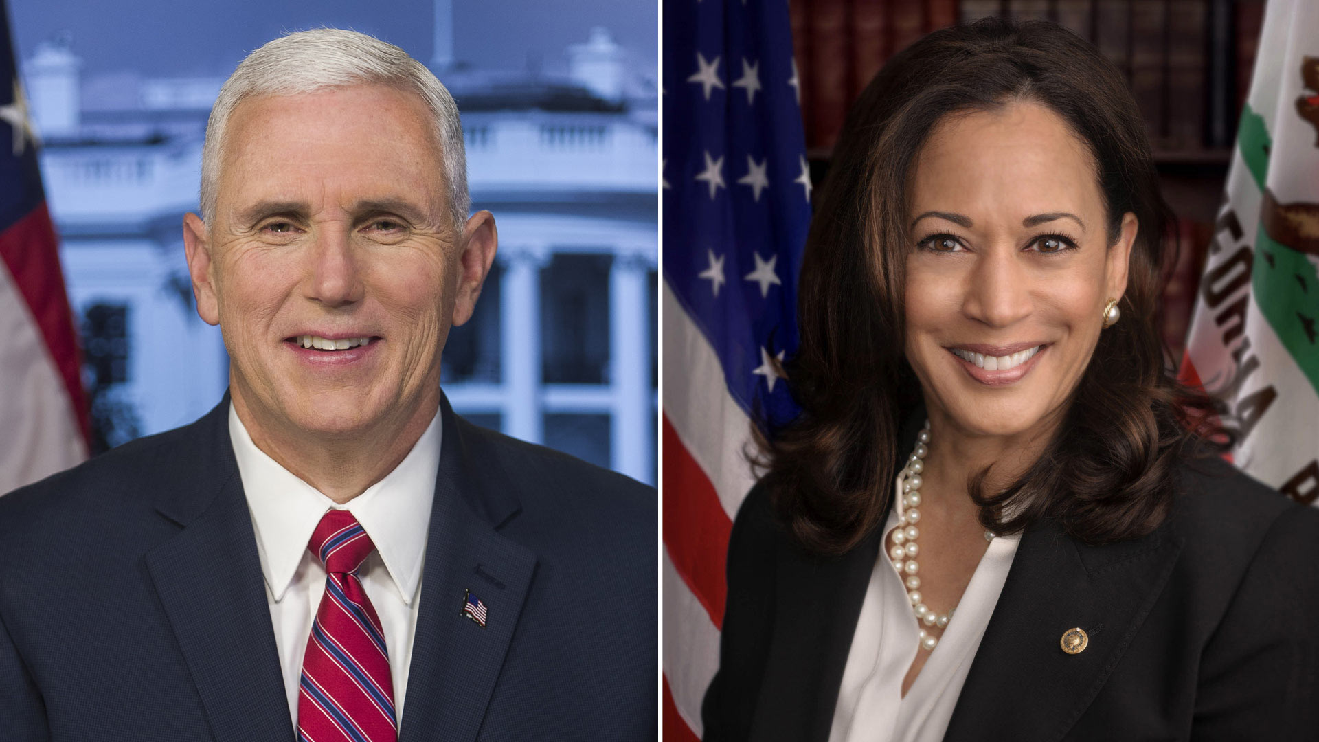 Republican Vice President Mike Pence (left), and Democratic Vice Presidential Nominee Kamala Harris (right)