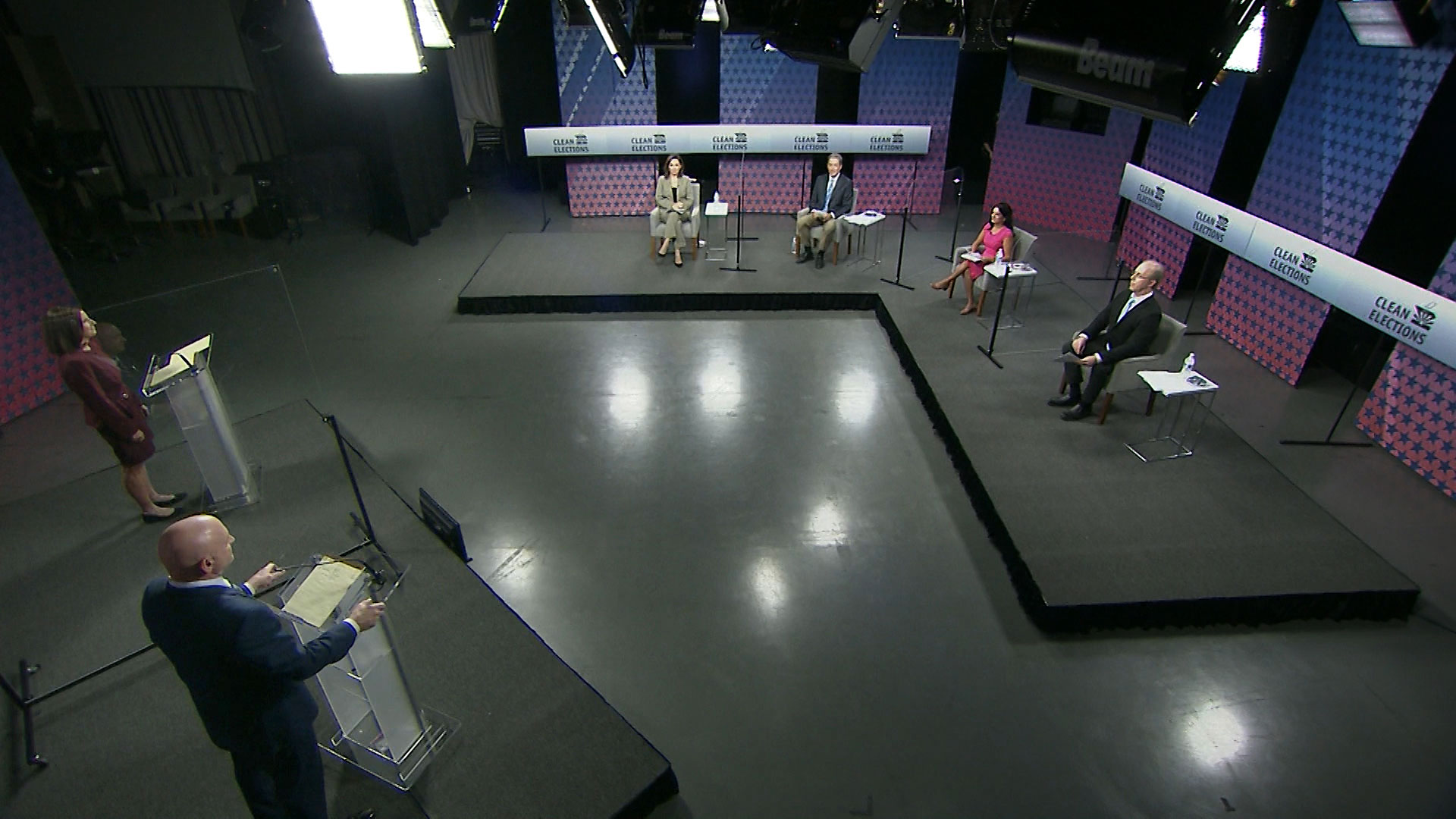 An image from the broadcast of the U.S. Senate debate between Sen. Martha McSally (R) and Mark Kelly (D) at Arizona PBS on Oct. 6, 2020.