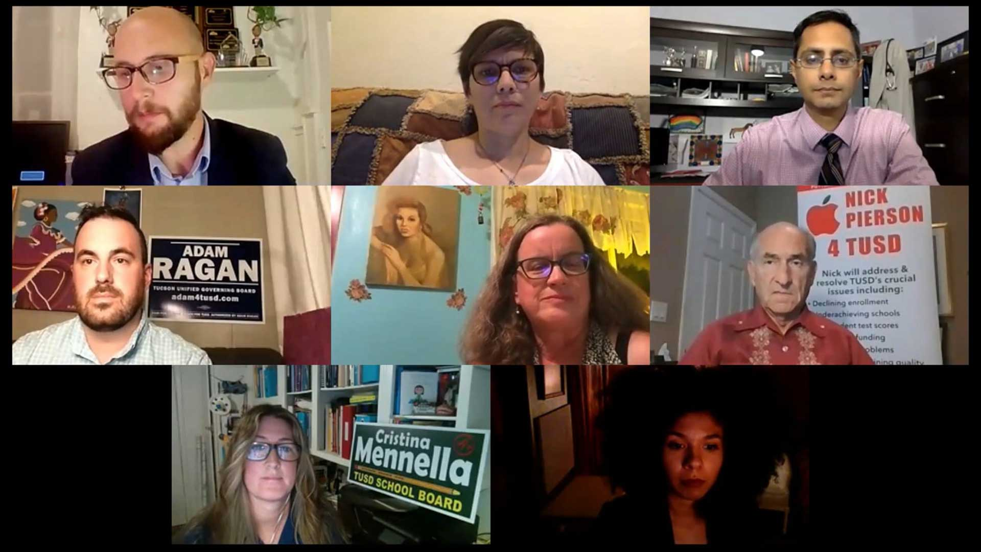 The seven candidates campaigning for a spot on the Tucson Unified School District Governing Board gathered on Zoom to discuss education issues on Oct. 8, 2020. Journalist Hank Stephenson moderated the forum.