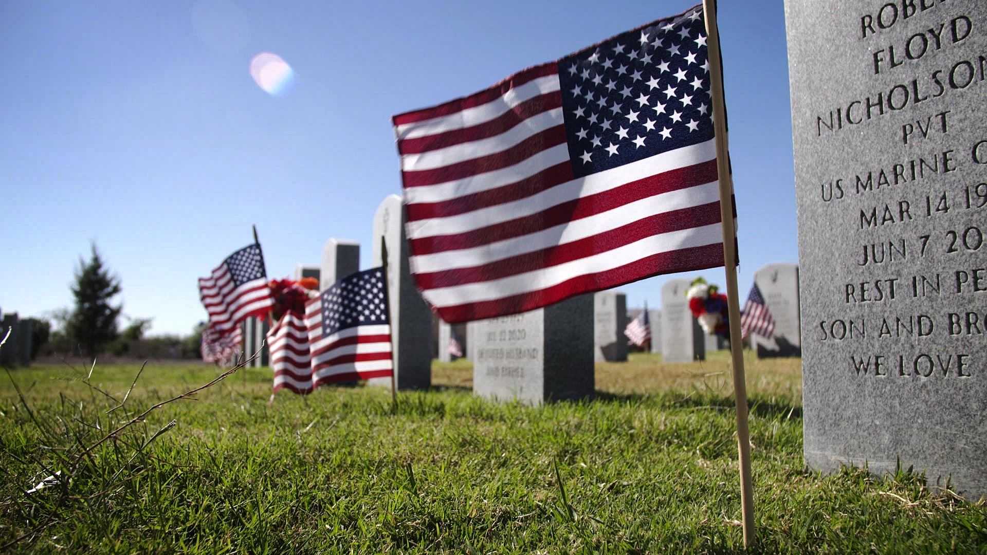 American flags planted at the graves of veterans at the Arizona Veterans' Memorial Cemetery at Marana. The flags were placed ahead of Veterans Day on Nov. 10, 2020.