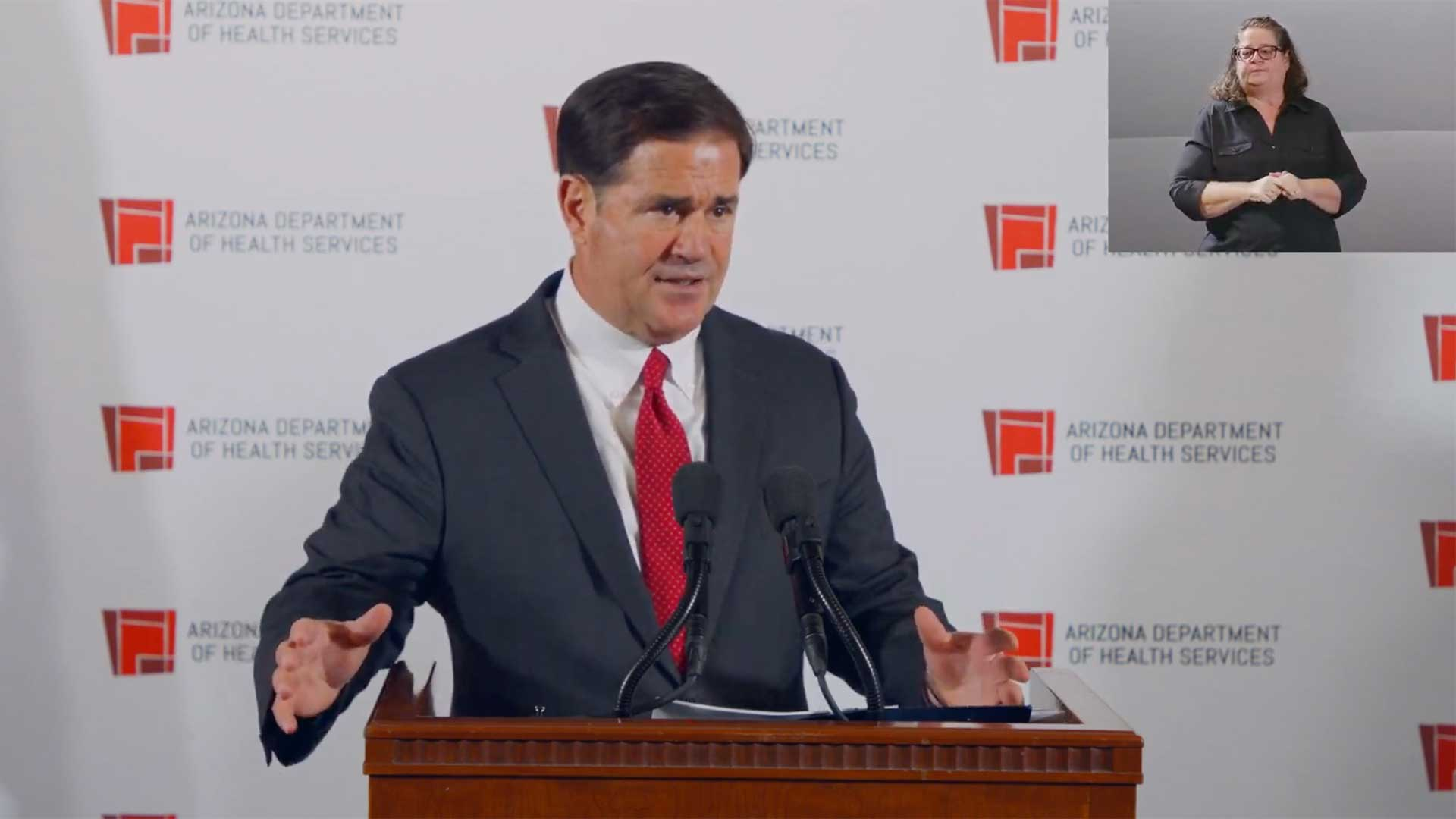 Gov. Doug Ducey at a Nov. 18, 2020 media briefing on the state's COVID-19 response.