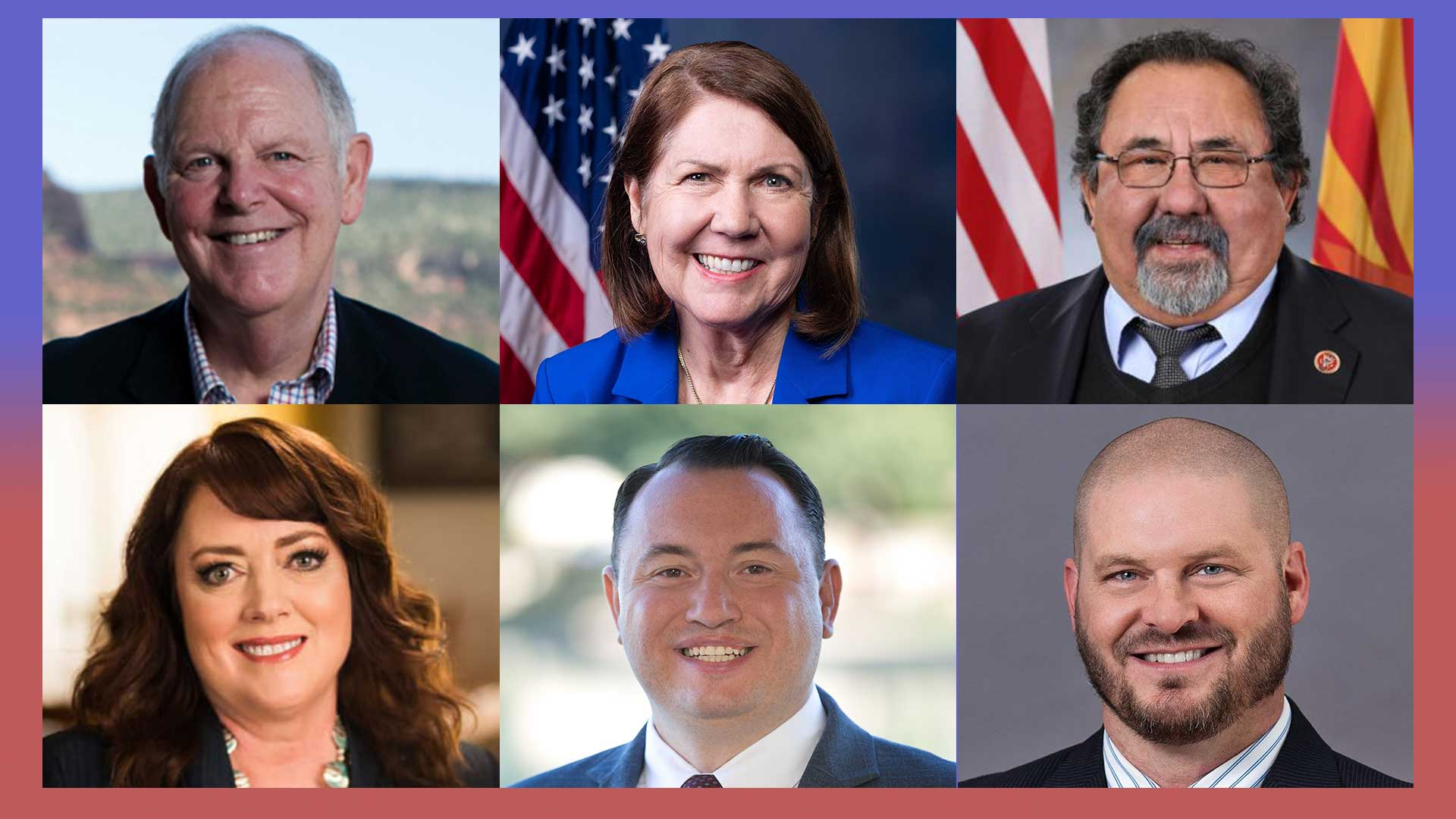 Left to right, 1st Congressional District candidates Tom O'Halleran (D, incumbent) and Tiffany Shedd (R). 2nd Congressional District candidates Ann Kirkpatrick (D, incumbent) and Brandon Martin (R). 3rd Congressional District candidates Raúl Grijalva (D, incumbent) and Daniel Wood (R).