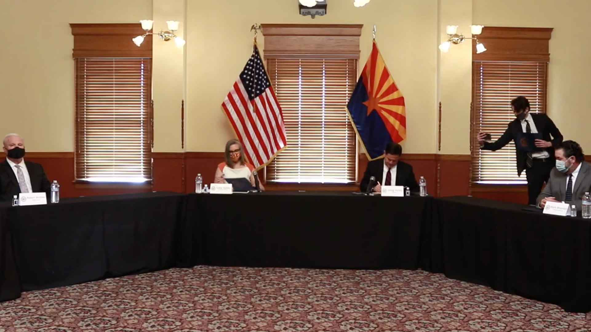 Arizona Chief Justice Robert Brutinel, Secretary of State Katie Hobbs, Governor Doug Ducey, and Attorney General Mark Brnovich certify the 2020 General Election. Nov. 30, 2020