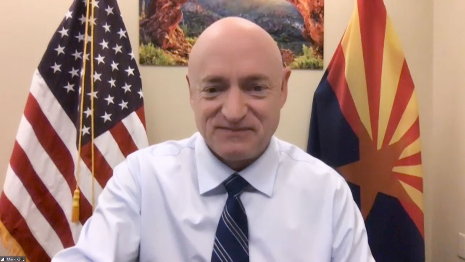 Democratic U.S. Sen. Mark Kelly during an interview with Arizona 360 from his office in Washington, D.C. on Dec. 10, 2020.