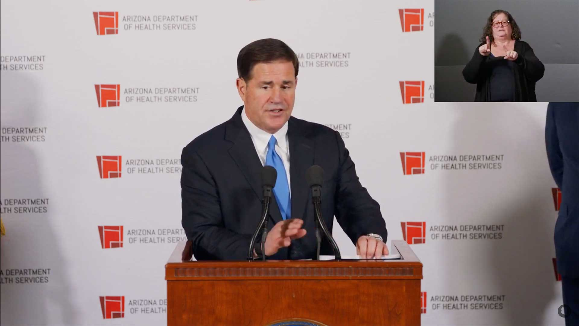Arizona Gov. Doug Ducey delivers an address about the state's COVID-19 response Dec. 2, 2020.