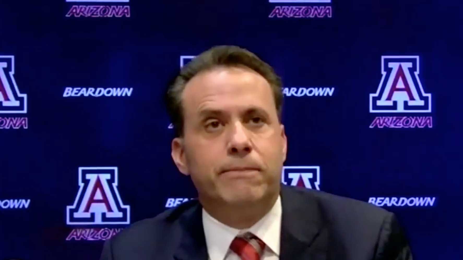 Jedd Fisch addresses the media via Zoom after being introduced as the new head football coach at the University of Arizona.
