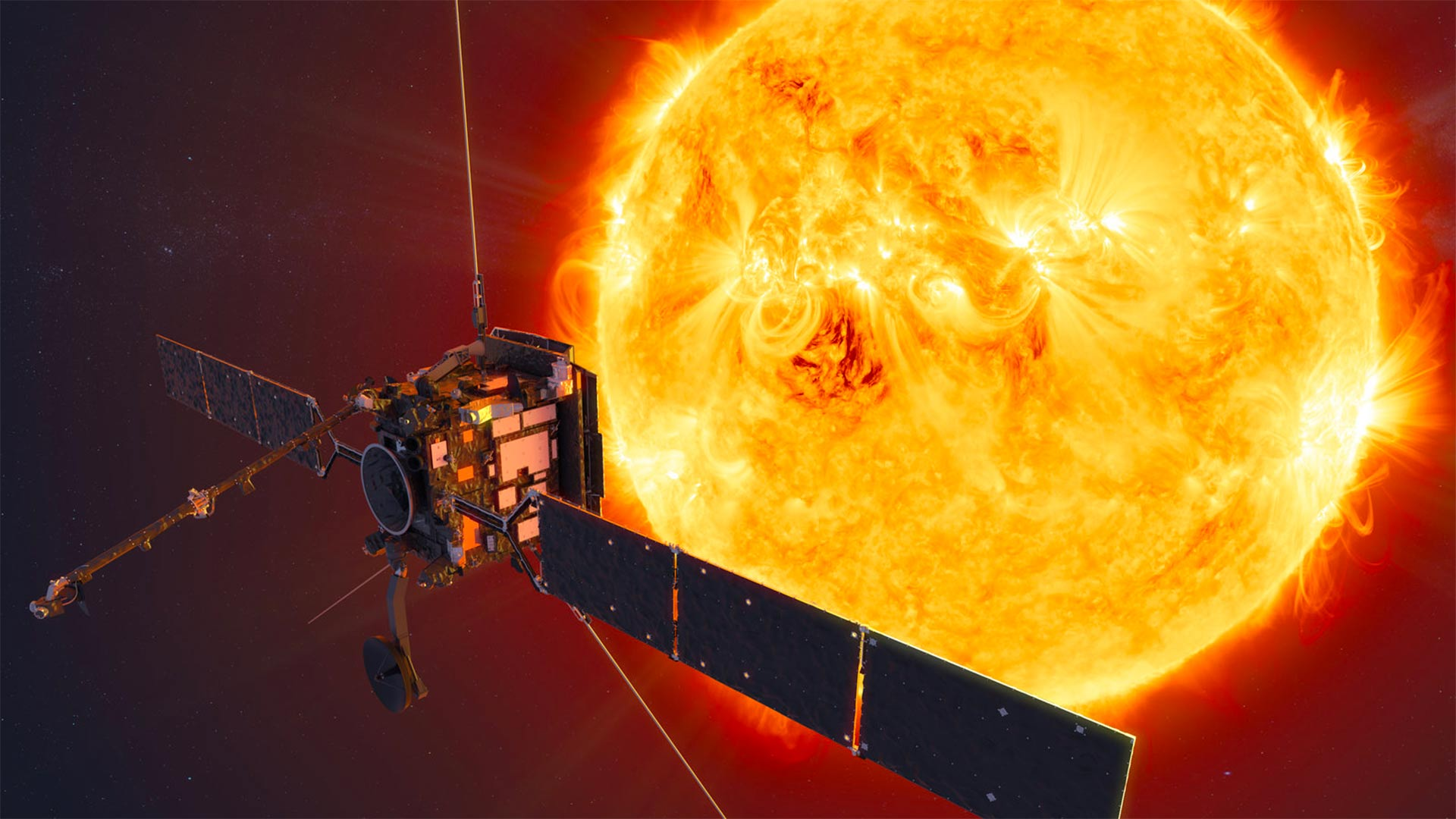 Solar Orbiter, seen in this artistic rendering, is a collaboration between the European Space Agency and NASA to study the sun and what drives the solar wind that creates space weather that affects Earth.