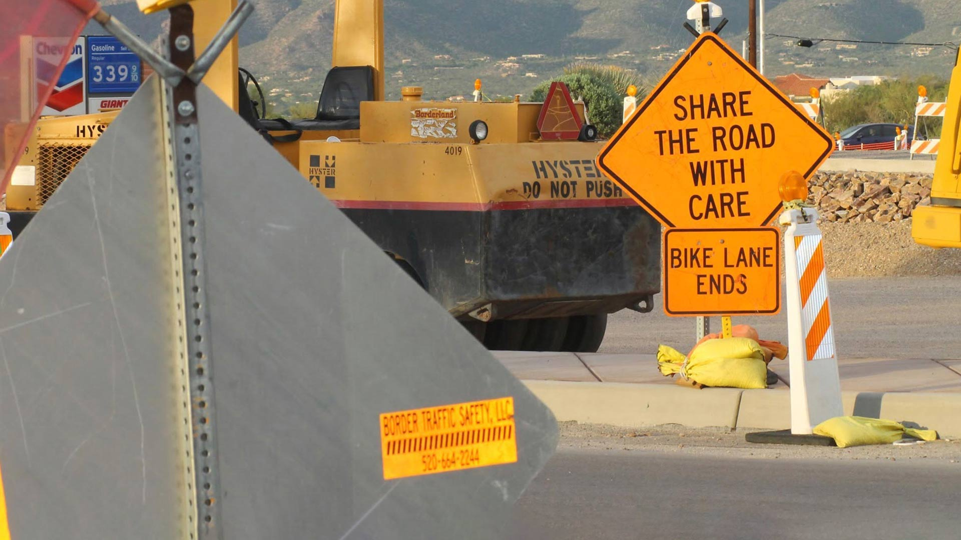 Road construction and repair signs in Pima County.
