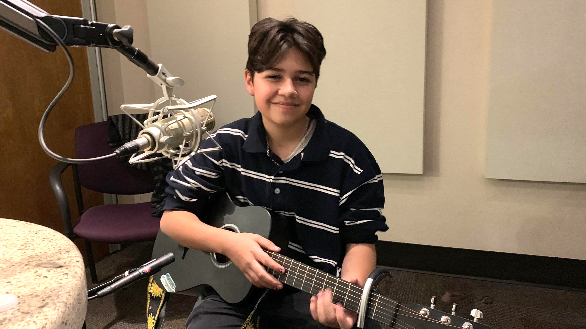 Noah James recording his music at the AZPM studio.
