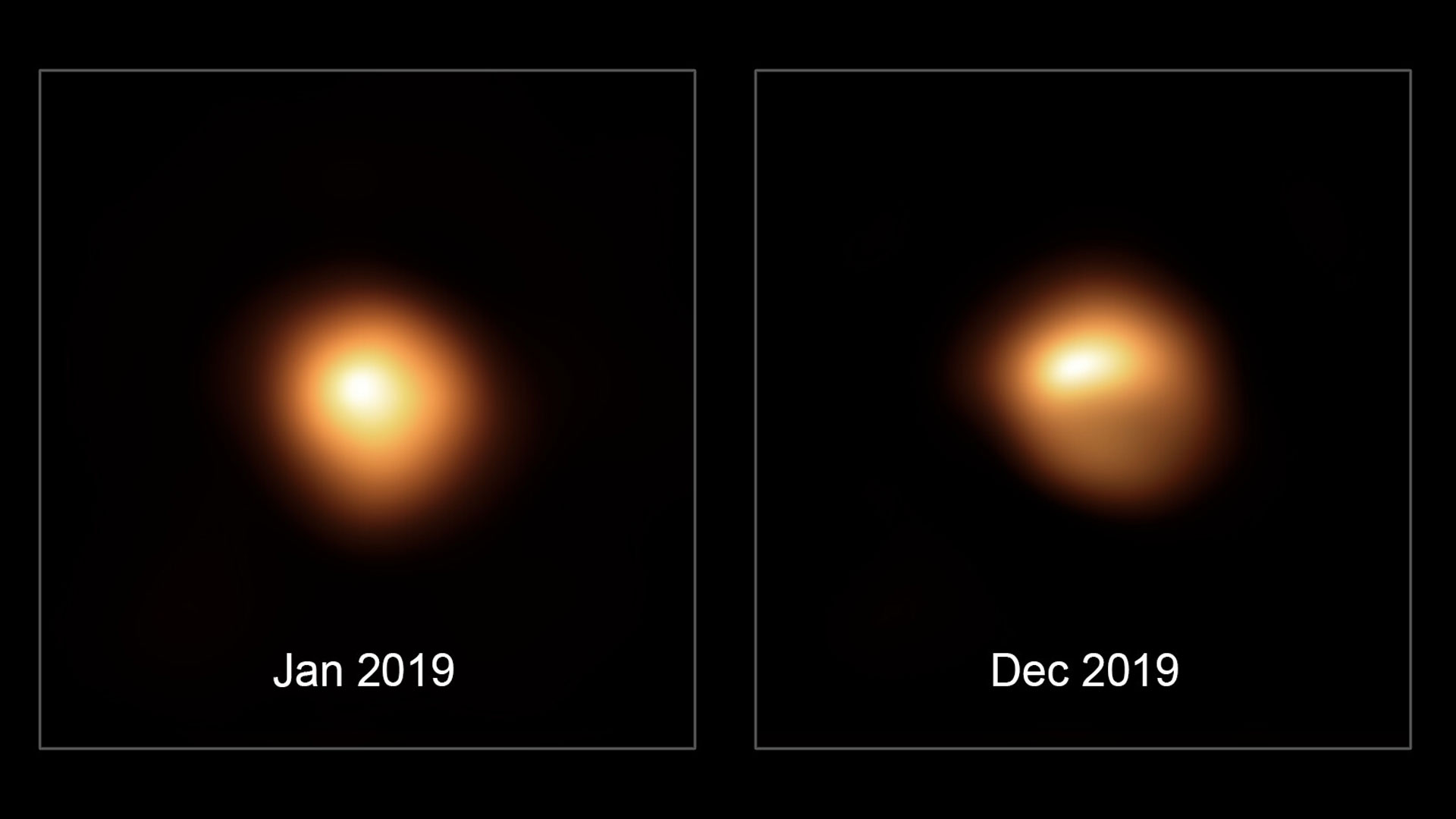 Two images captured approximately one year apart with the SPHERE instrument on the European Southern Observatory's Very Large Telescope show the apparent dimming of the star Betelgeuse.