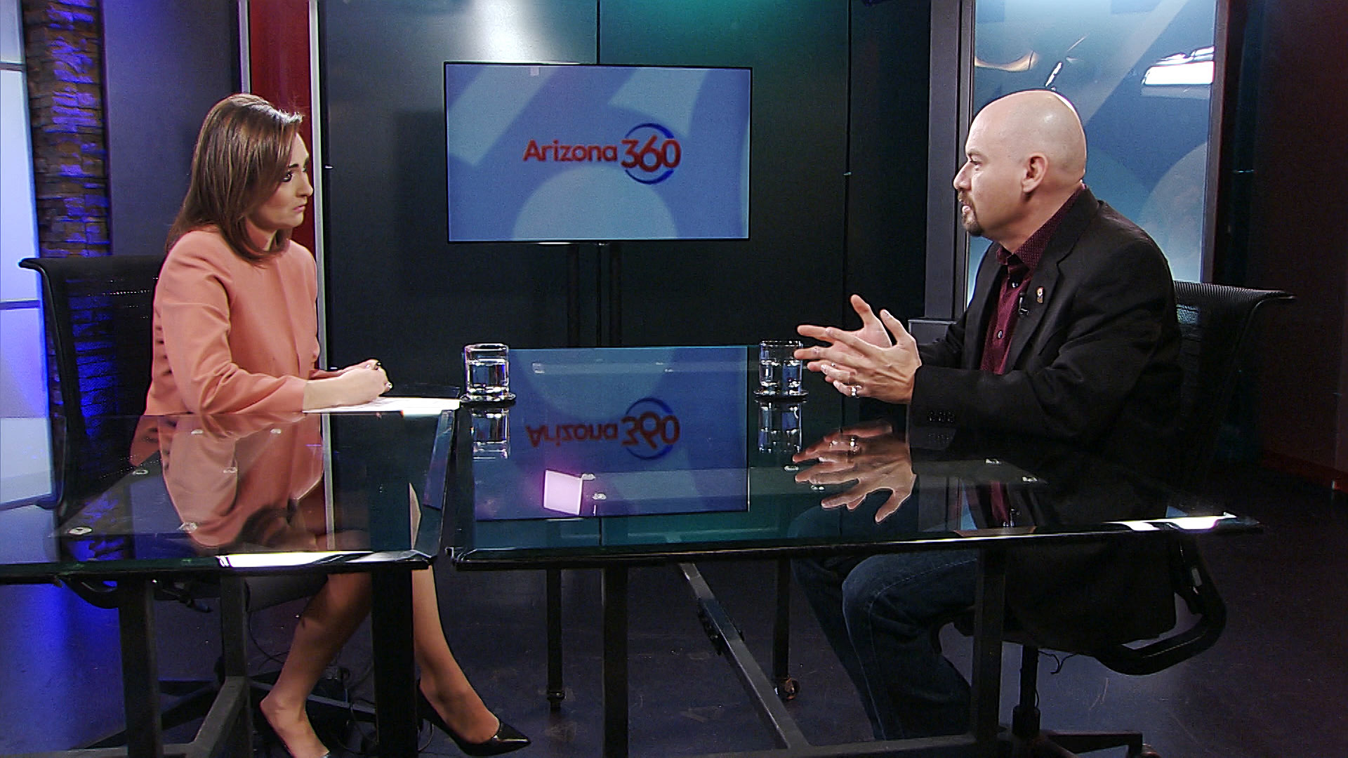 National Border Patrol Council Vice President Art Del Cueto sits for an interview with Arizona 360 host Lorraine Rivera at Arizona Public Media on Feb. 19, 2020.