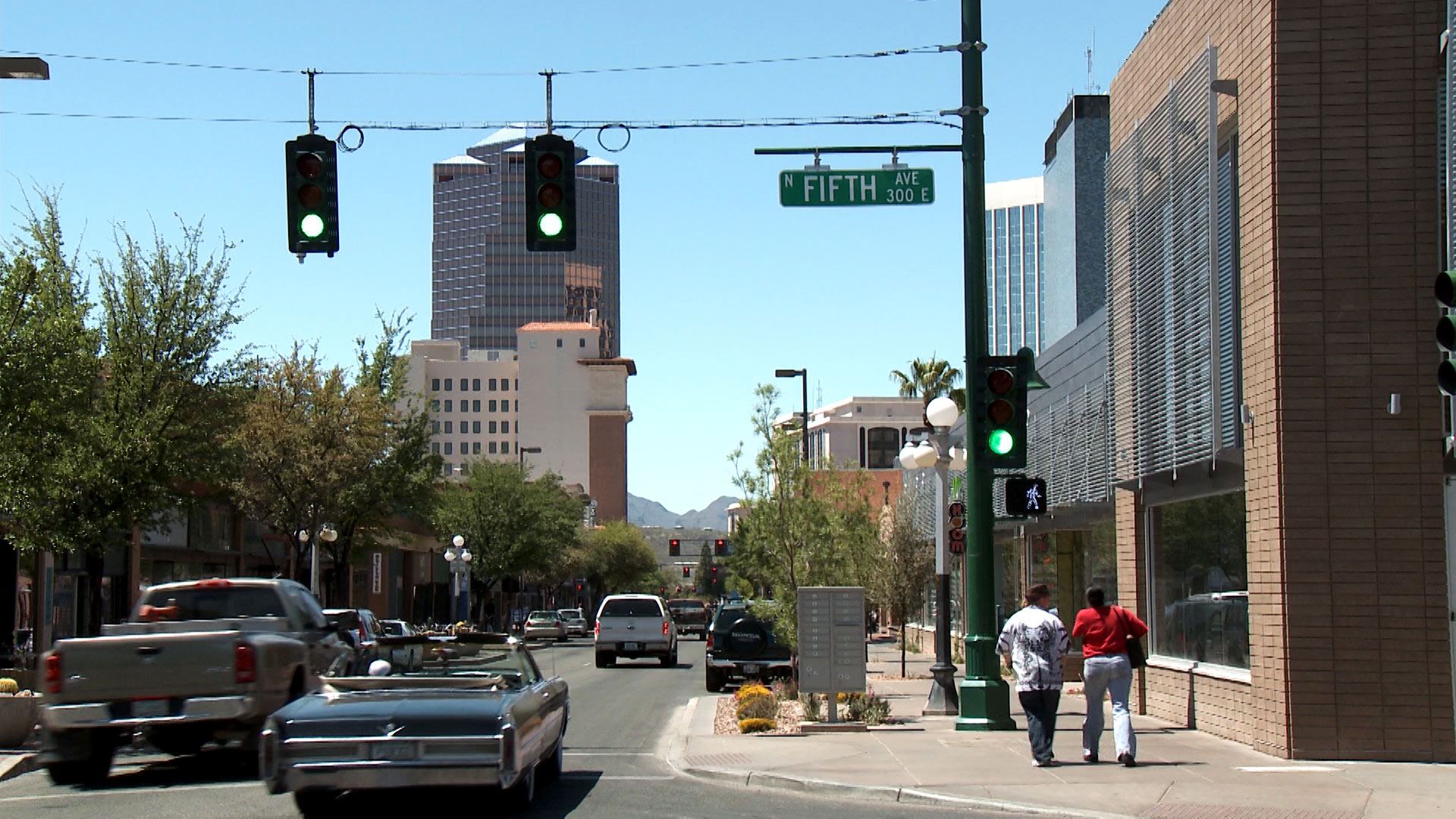 Downtown Tucson at the intersection of Congress Street and 5th Avenue.