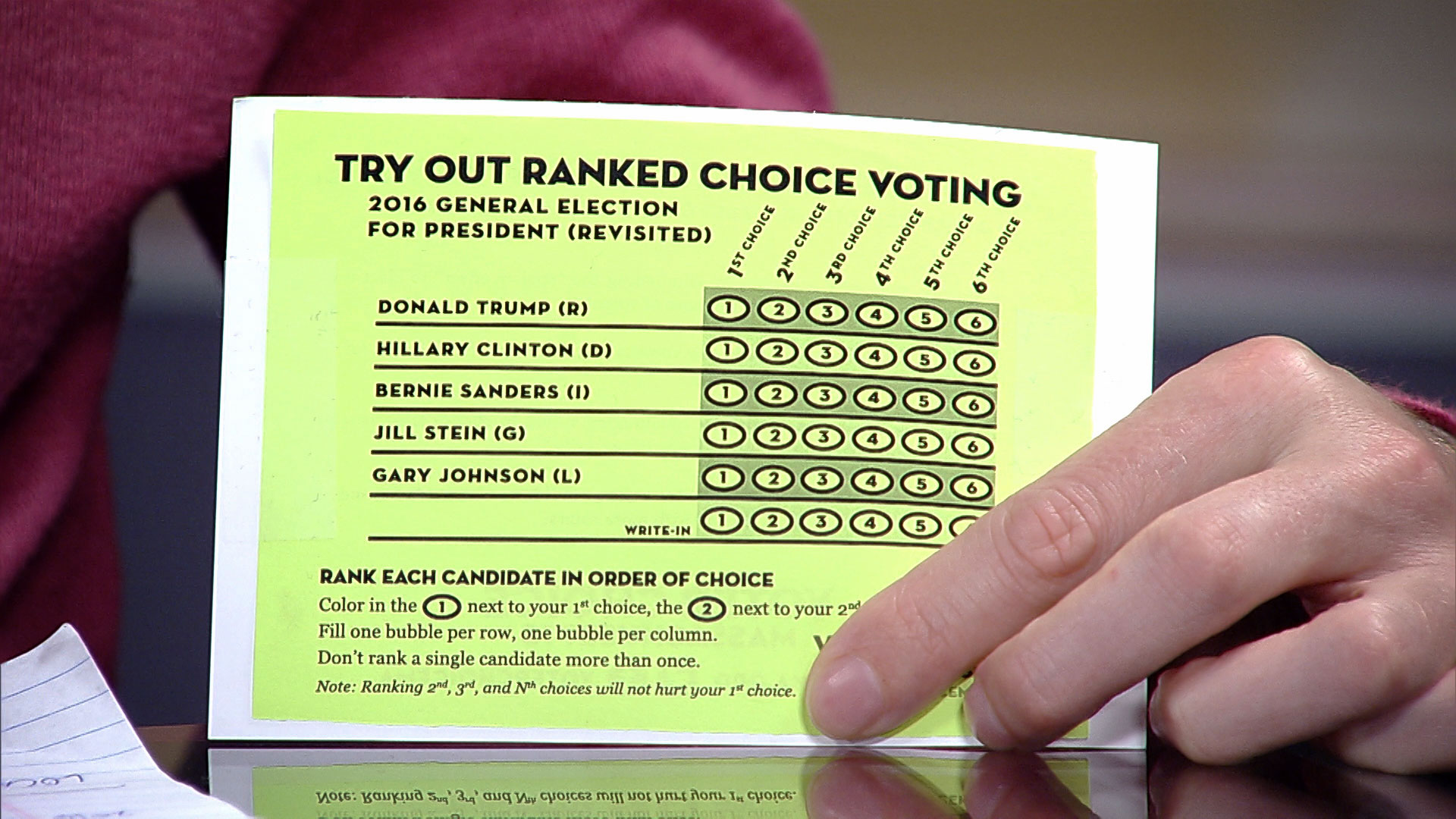 A flyer for ranked choice voting from the group Voter Choice Massachusetts.