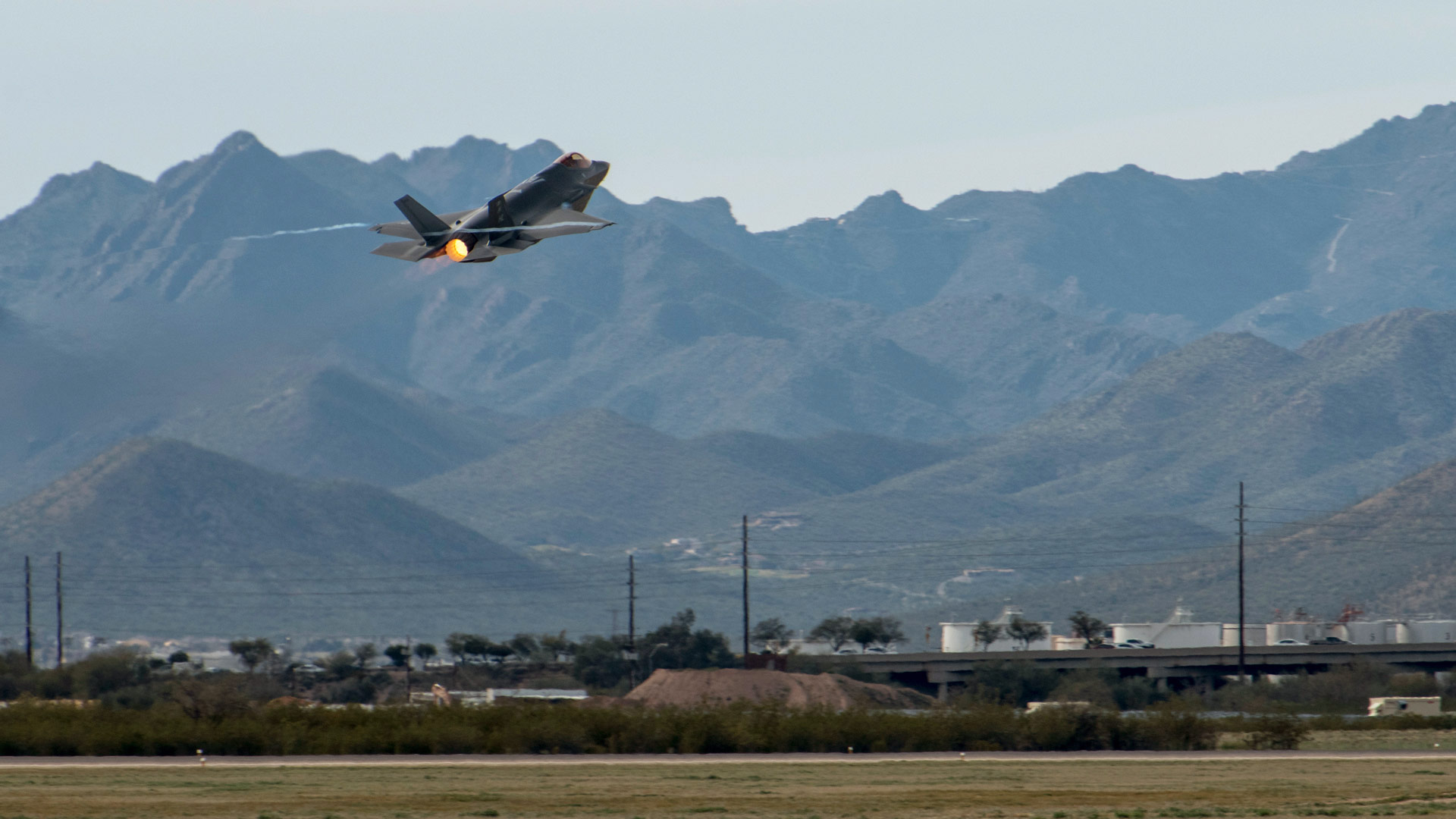 An F-35A takes off from Davis-Monthan Air Force base in Tucson during the annual Heritage Flight Training course,  Feb. 27, 2020.