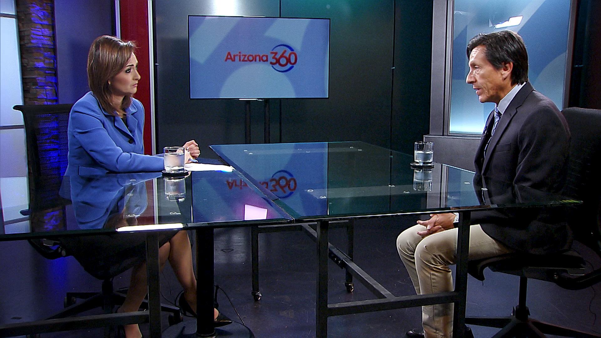 Arizona 360 host Lorraine Rivera interviews Pima County Chief Medical Officer Francisco Garcia at Arizona Public Media.