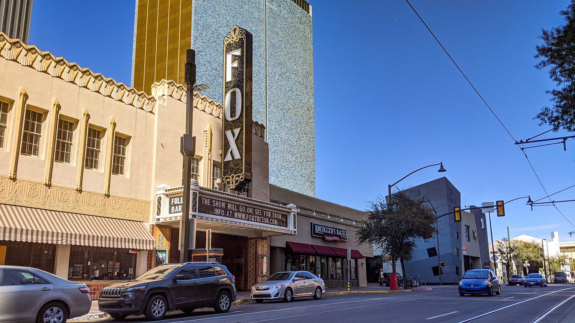 "The Fox Tucson Theatre's sign on March 17 reads: ""The show will go on! See you soon."""