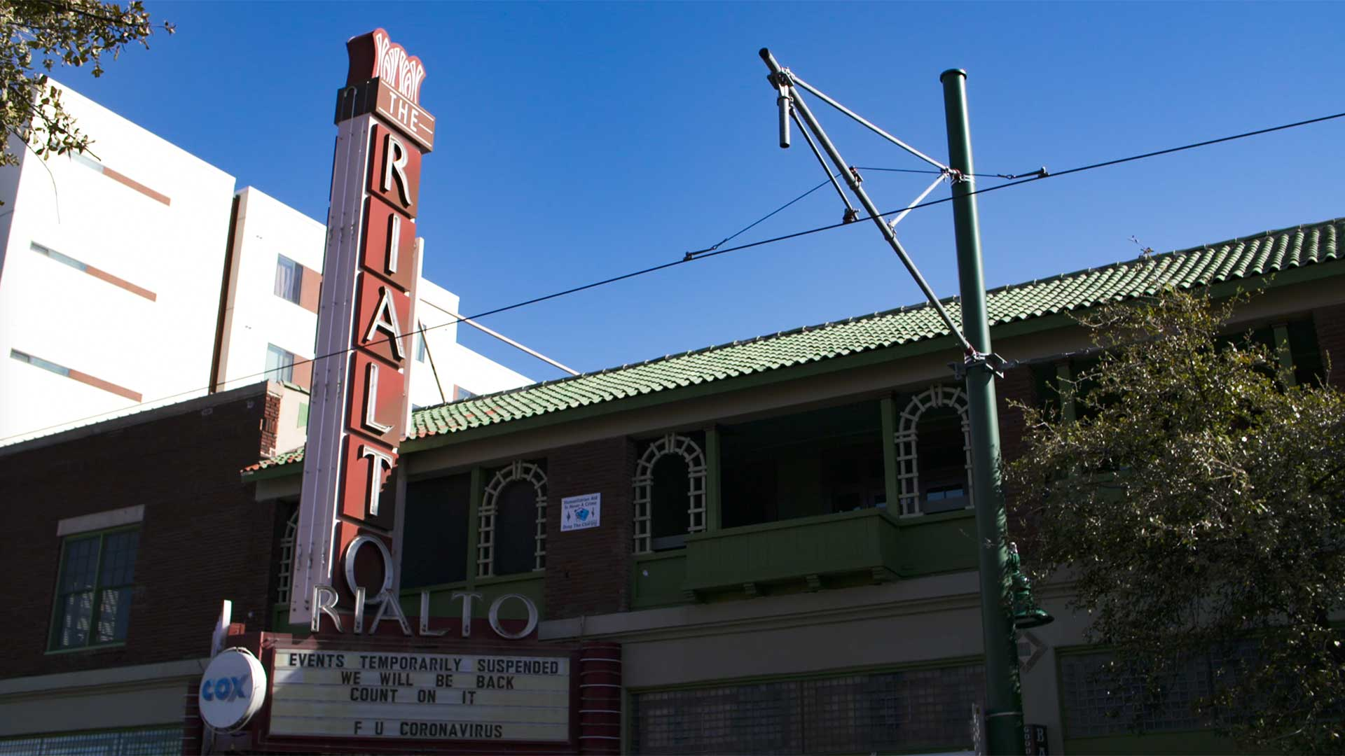 The Rialto Theatre on March 17, when Tucson declared a local emergency in response to the COVID-19 pandemic.