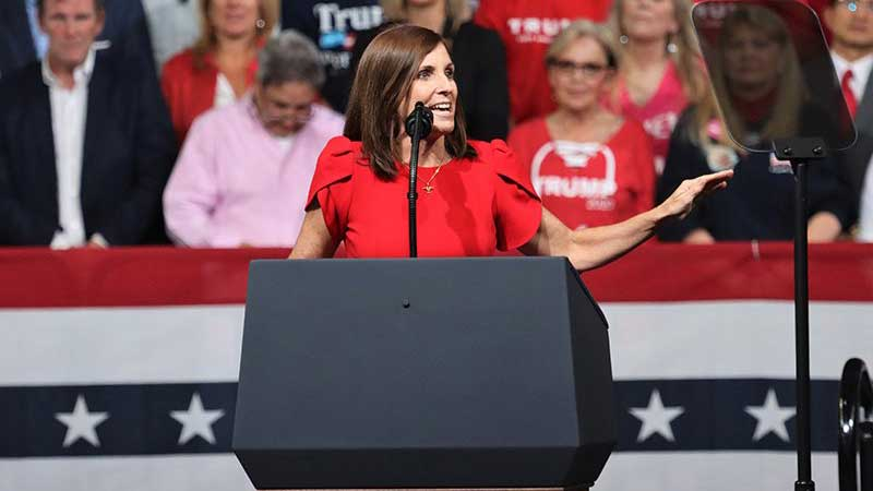 Sen. Martha McSally, R-Ariz., at President Donald Trump's rally in Phoenix in February, faces a difficult election in the fall to fill out the remaining two years of the late Sen. John McCain's term, who she was appointed to replace in 2018.